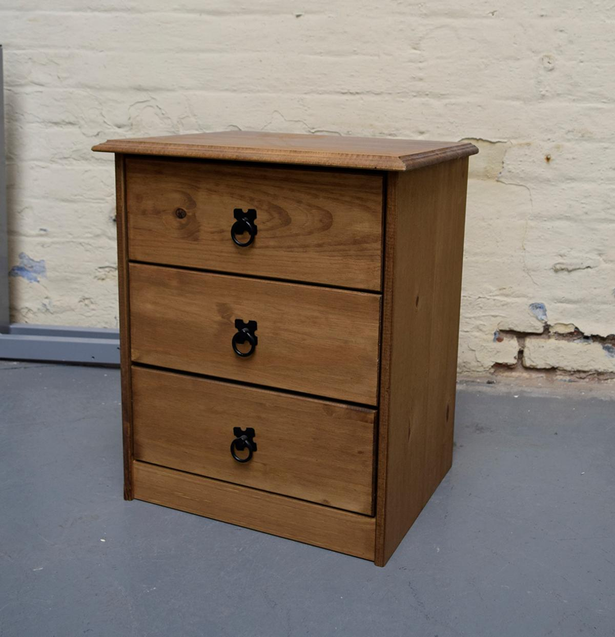 Description Distressed And Waxed Solid Pine Bedside Table Featuring 3 Drawers