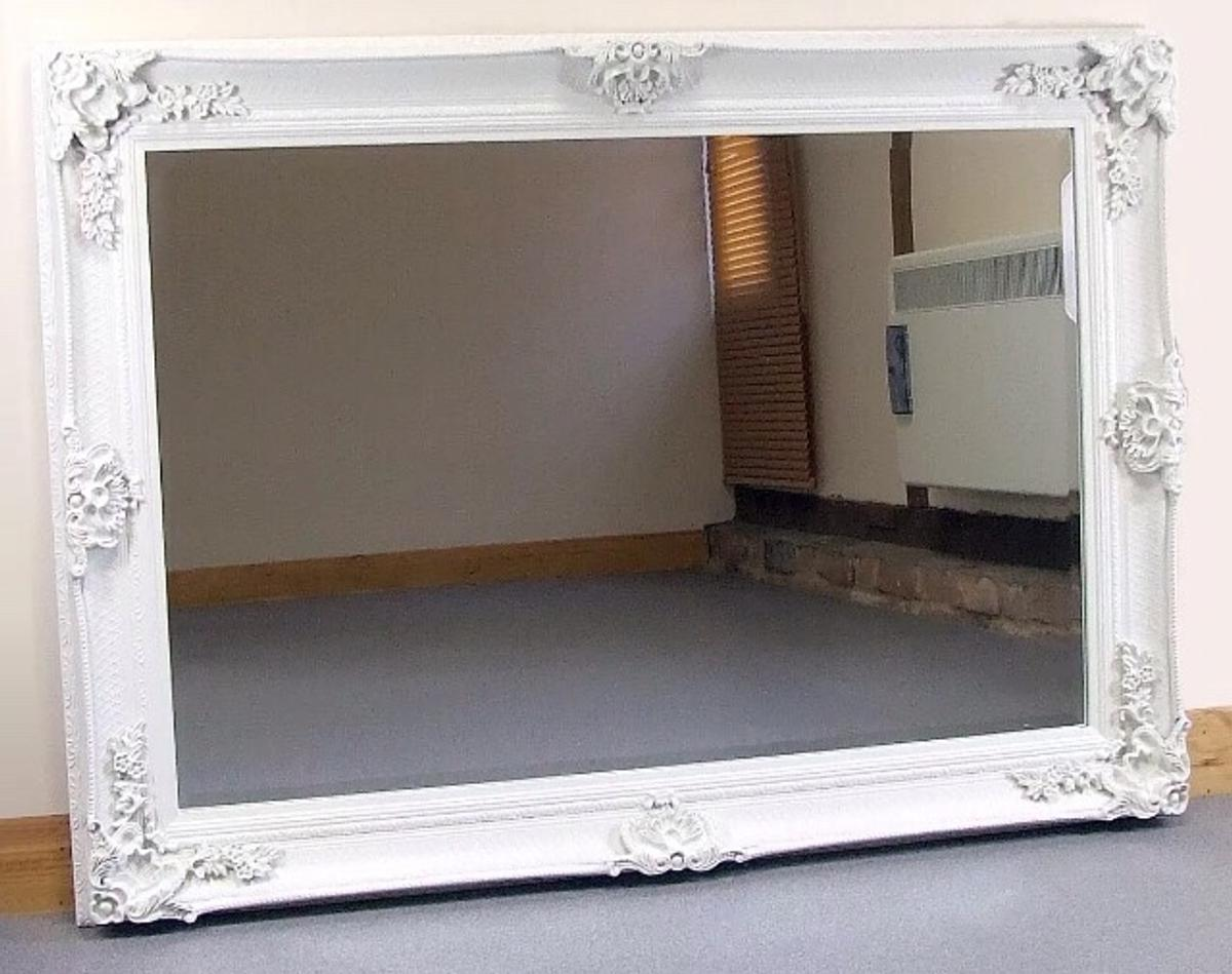 Large Vintage Style White Mirror In Dn4