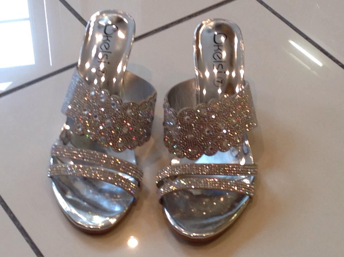 39a90740165 Silver sparkly Wedge sandals Size 7