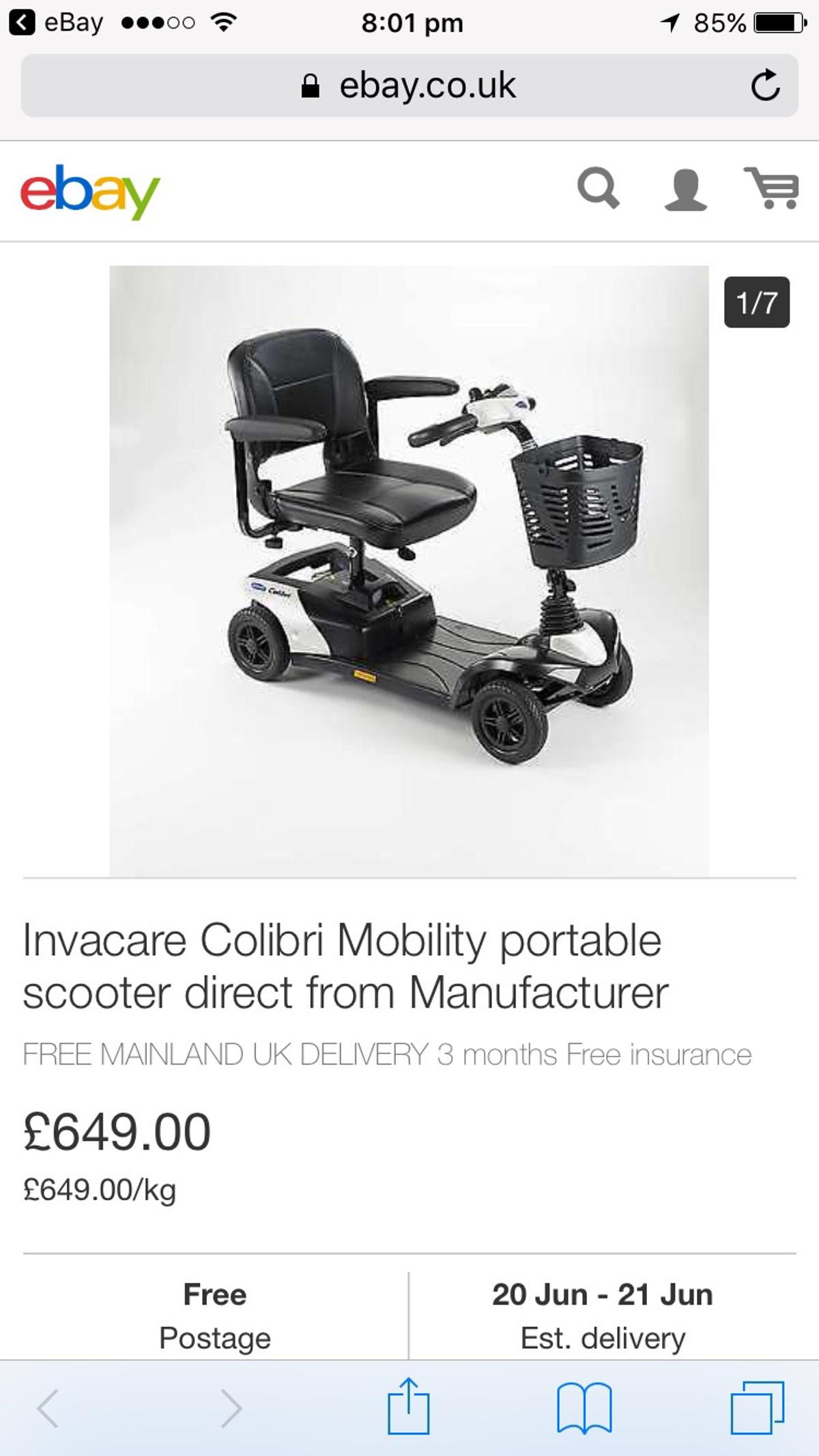 Invacare colibri mobility scooter in TW16 Shepperton for