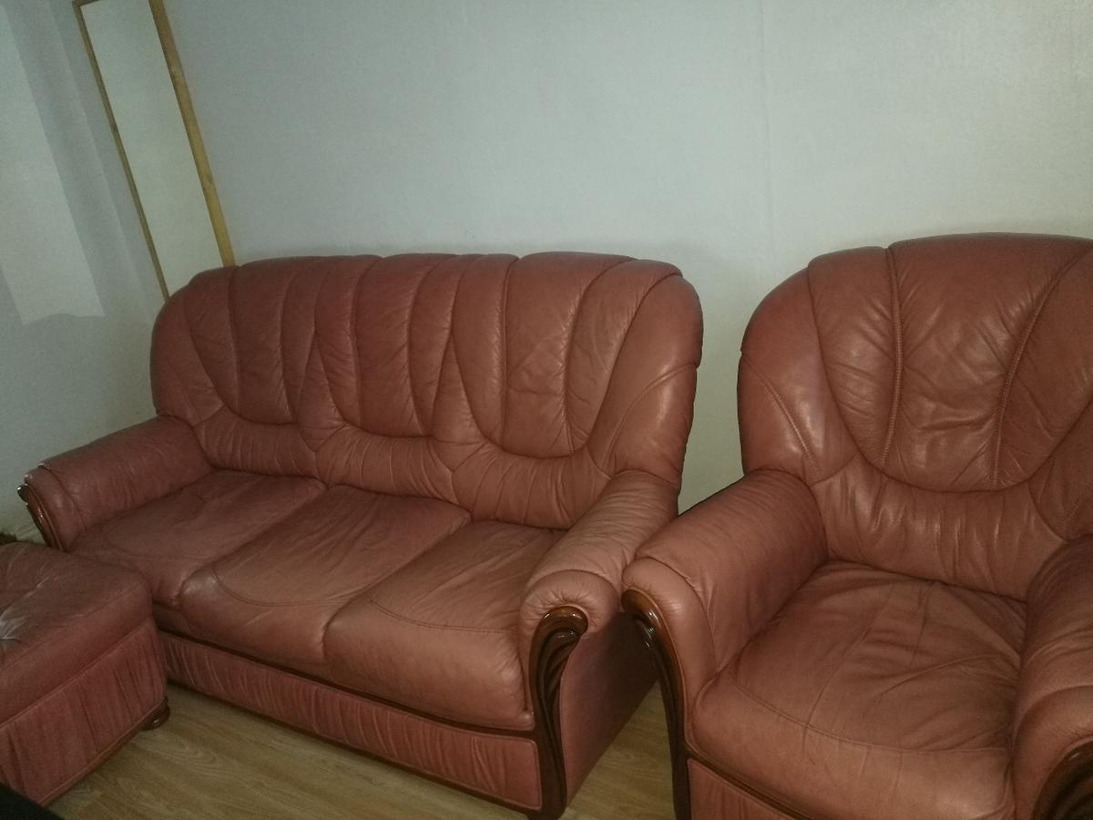 Leather Sofa 2 Armchairs Footstool In