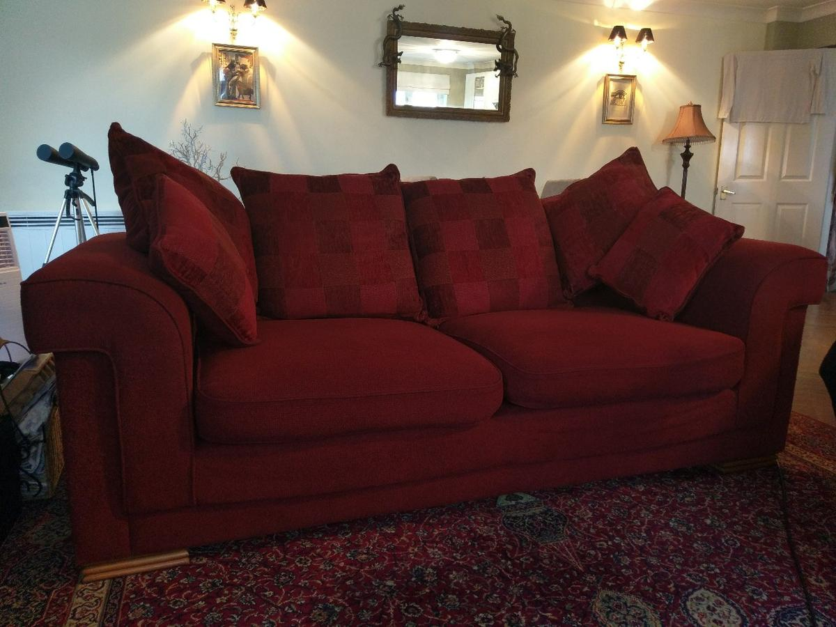 3 Seater Chenille Cherry Red Sofa in SG13 Heath for £70.00 ...