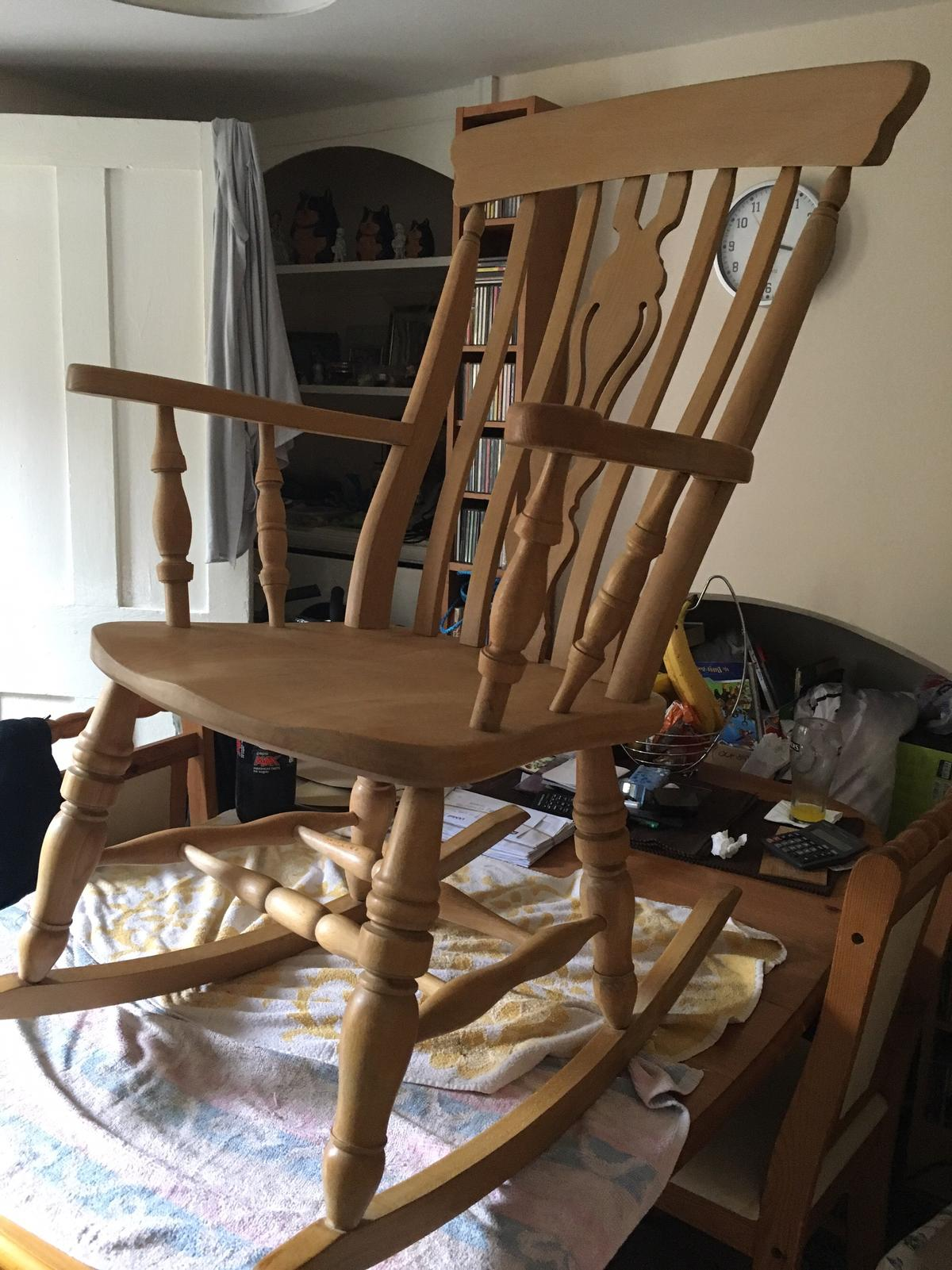 Amazing Solid Beech Fiddle Back Rocking Chair In High Wycombe Fur 50 Inzonedesignstudio Interior Chair Design Inzonedesignstudiocom