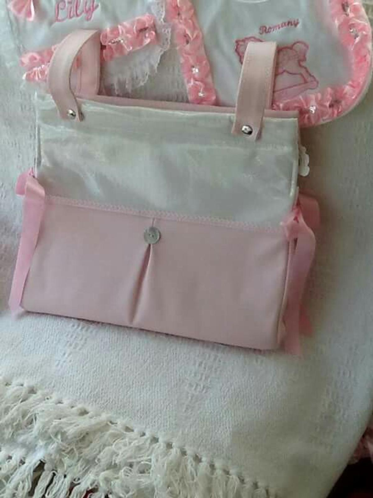 PINK  WITH   BOW BEAUTIFUL  SPANISH ROMANY STYLE  BABY CHANGING  BAG  GREY