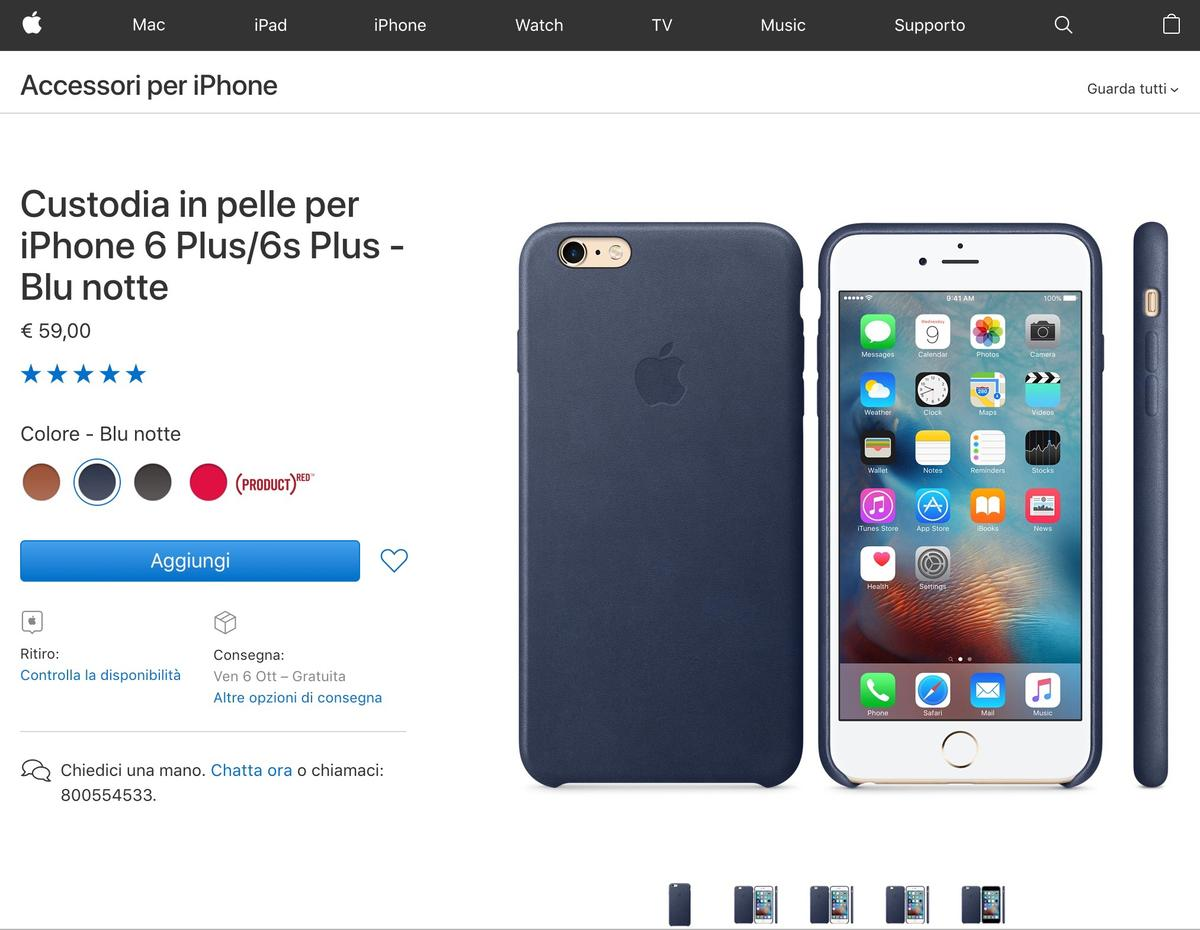 Custodia Silicone Morbida In Pelle Cover per Apple iPhone 6S Plus Blu
