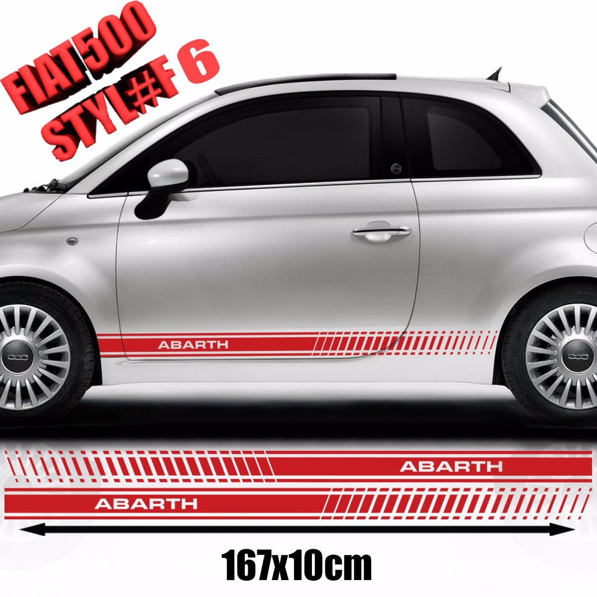 Fiat 500 Abarth Side Racing Stripes Stickers