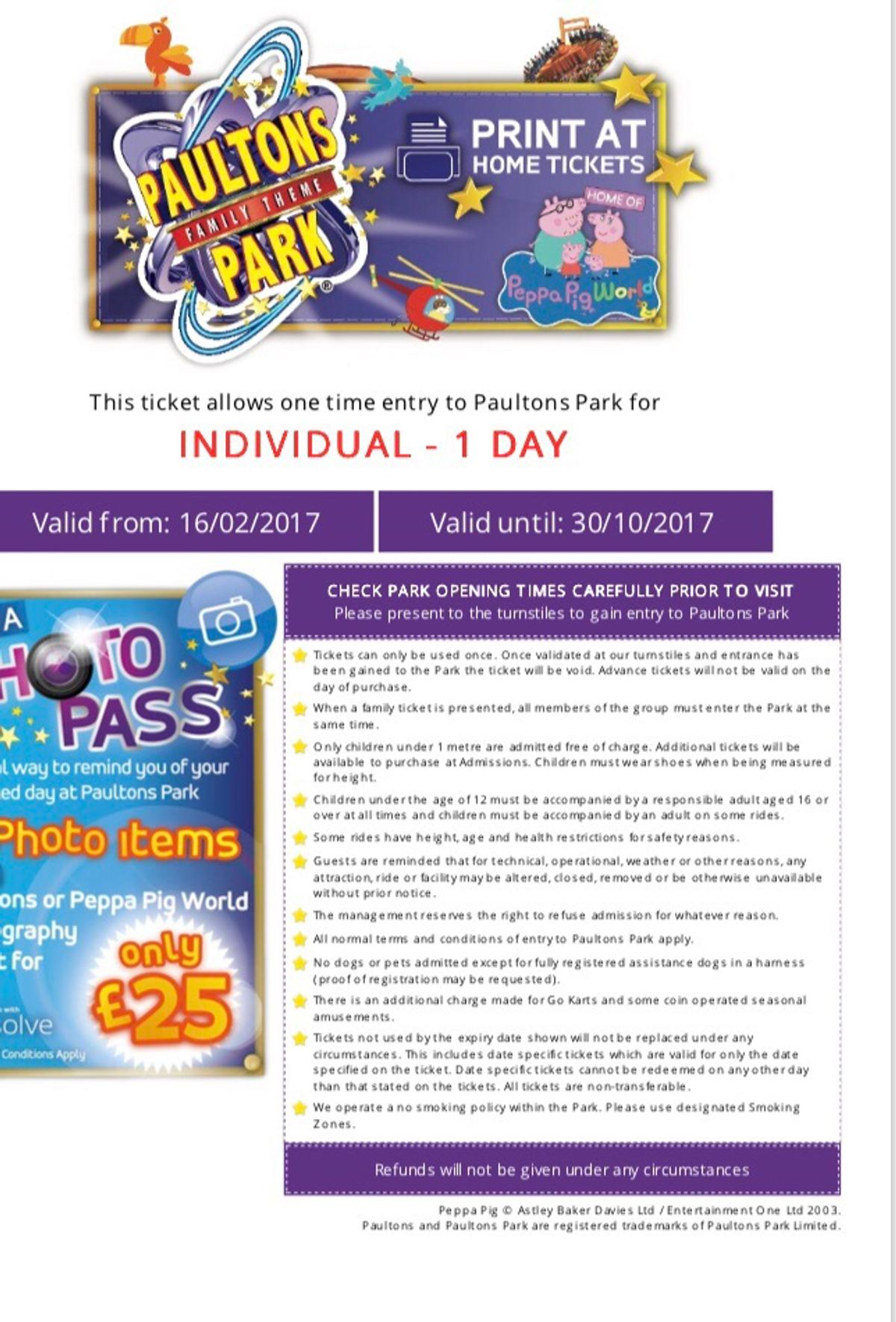 X2 Peppa Pig World Tickets At Paultons Park