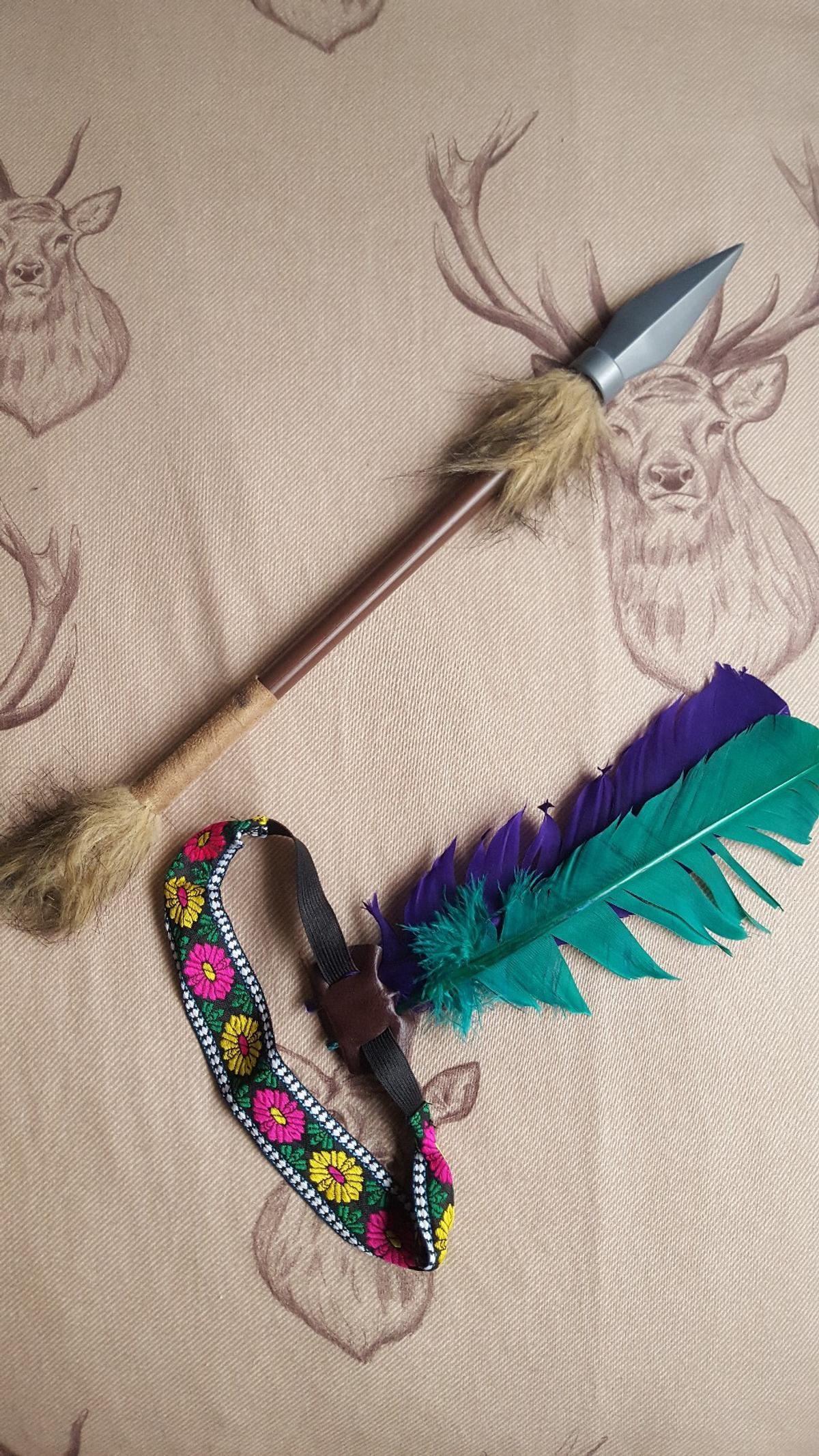 Indian Headband With Two Feathers Few Colours Available Fancy Dress Accessory