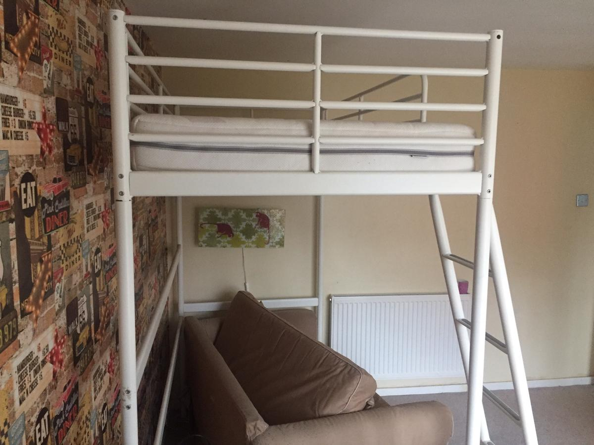 Picture of: Ikea Svarta White Loft Bed In Ng11 Wilford For 35 00 For Sale Shpock