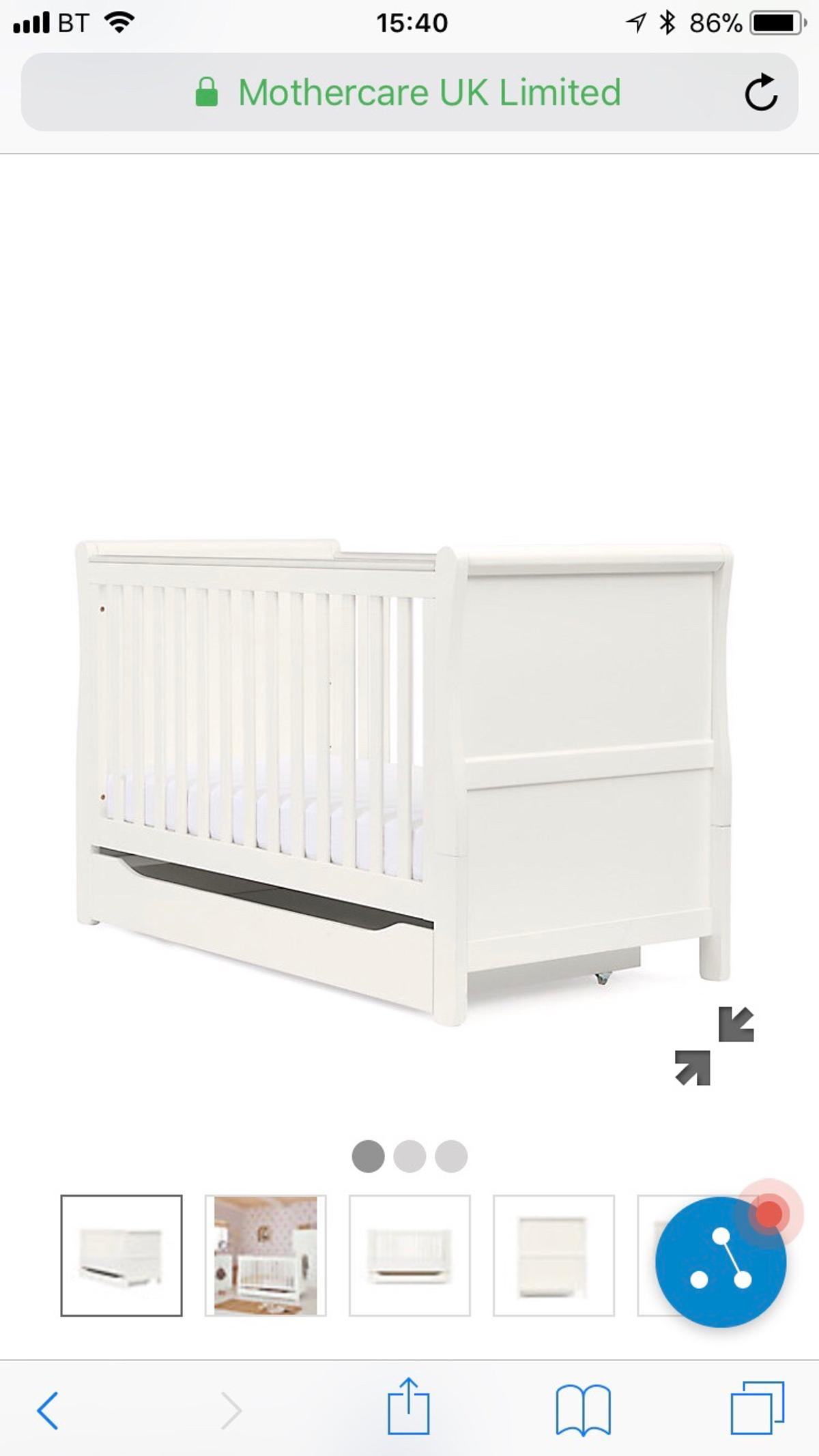 - Mothercare Sleigh Cot Bed-White With Mattress In Tong Für 80,00