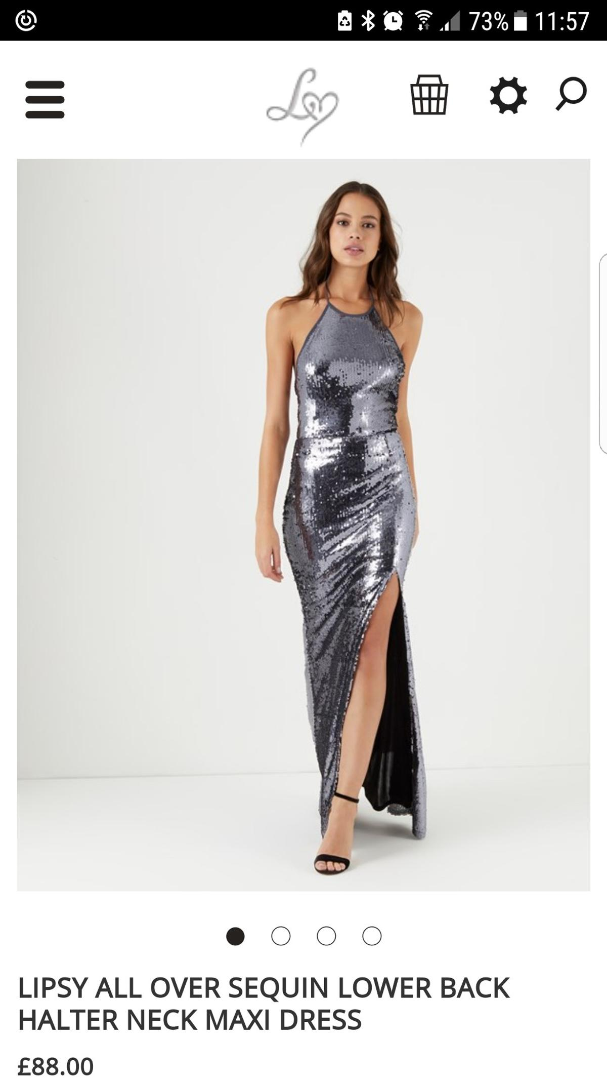 0b9b458f4aa3 Description. This is a beautiful silver/ pewter colour sequin dress size 8  maxi ...