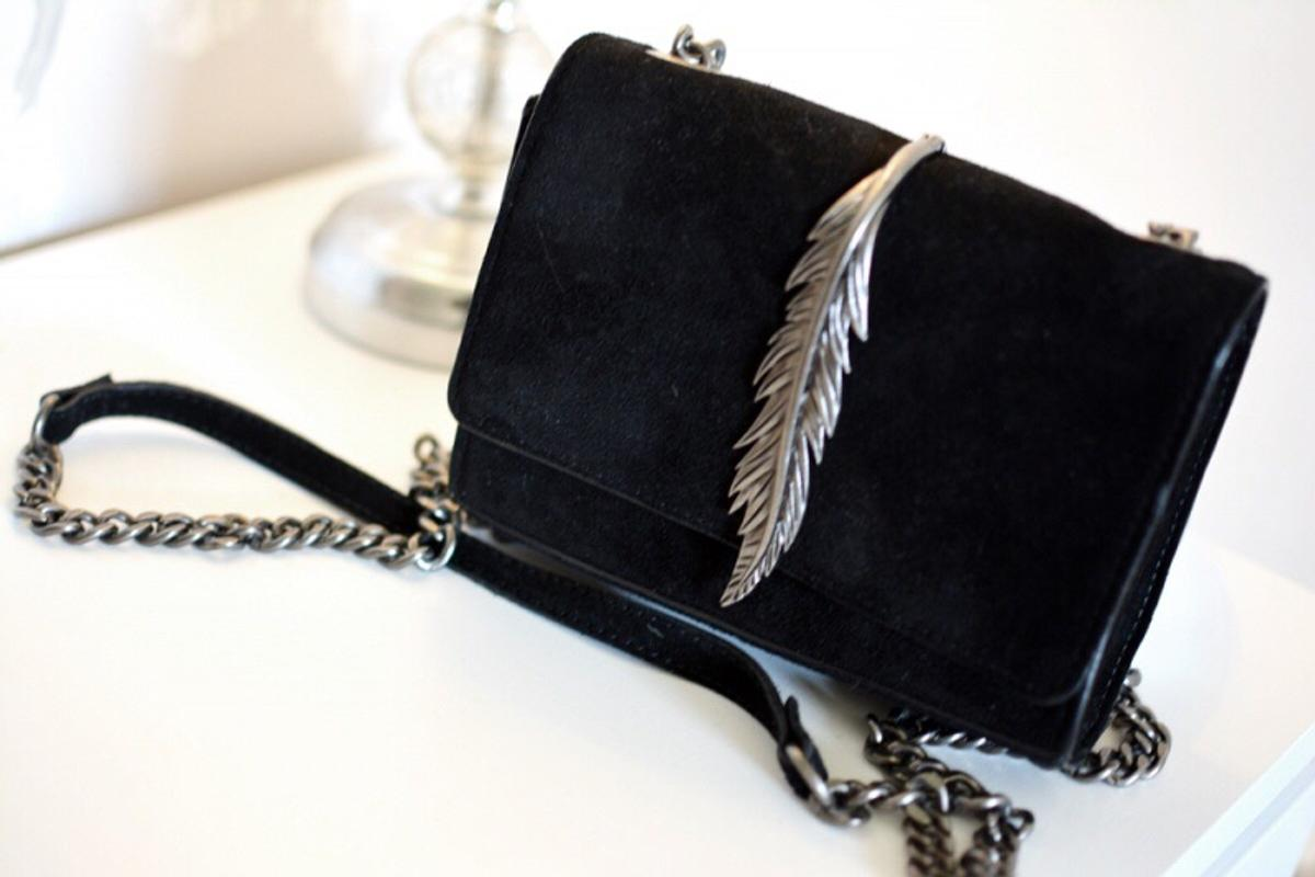 a31728ce New Zara suede leather crossbody featherbag