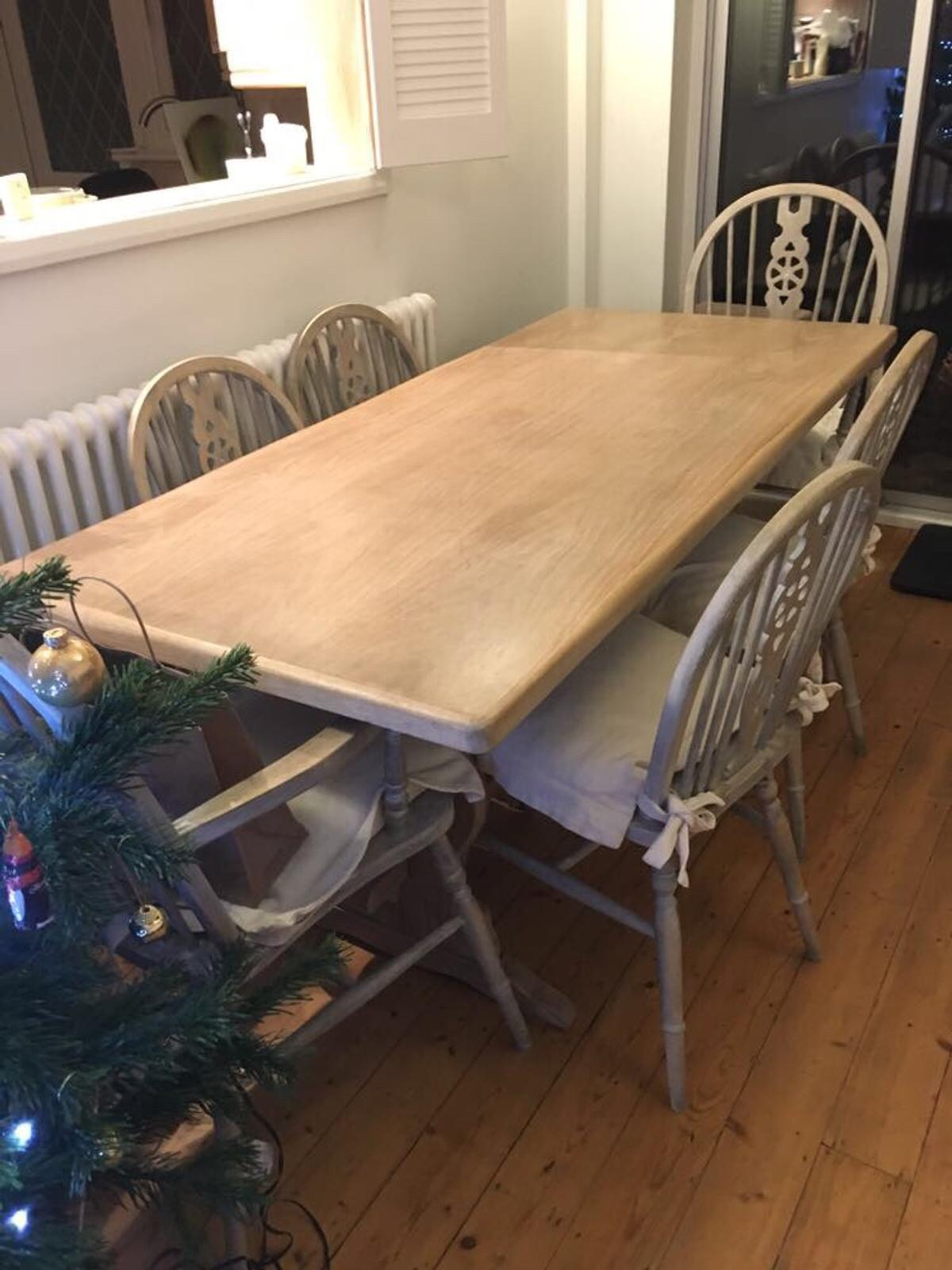 Limed Oak Dining Table And 6 Chairs In DA17 Bexley For ...