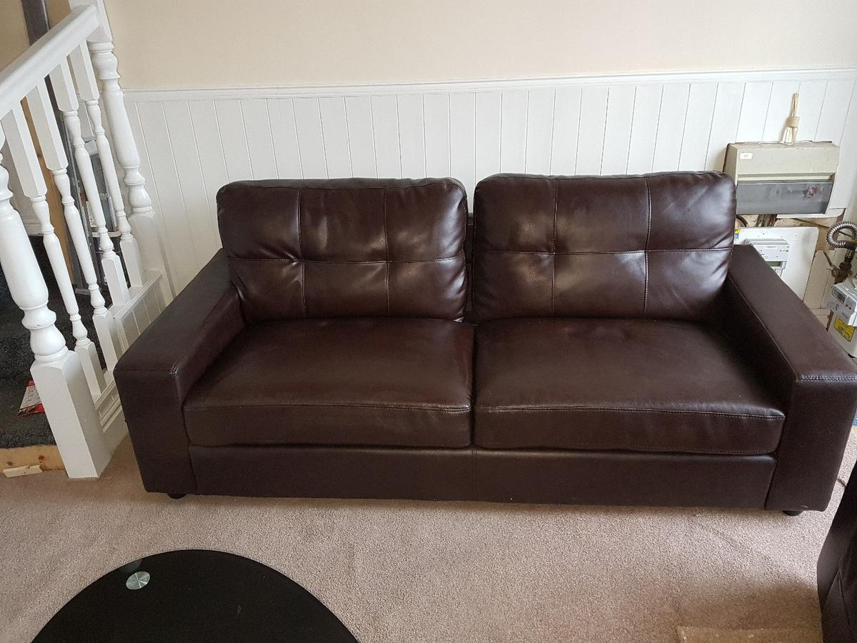 2&3 seater leather look sofa