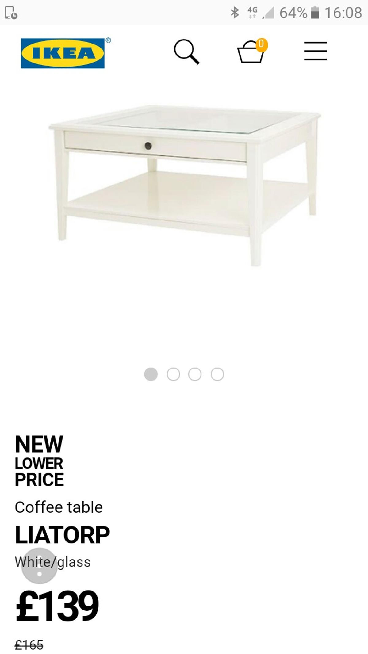 Ikea Liatorp White Coffee Table Drawer