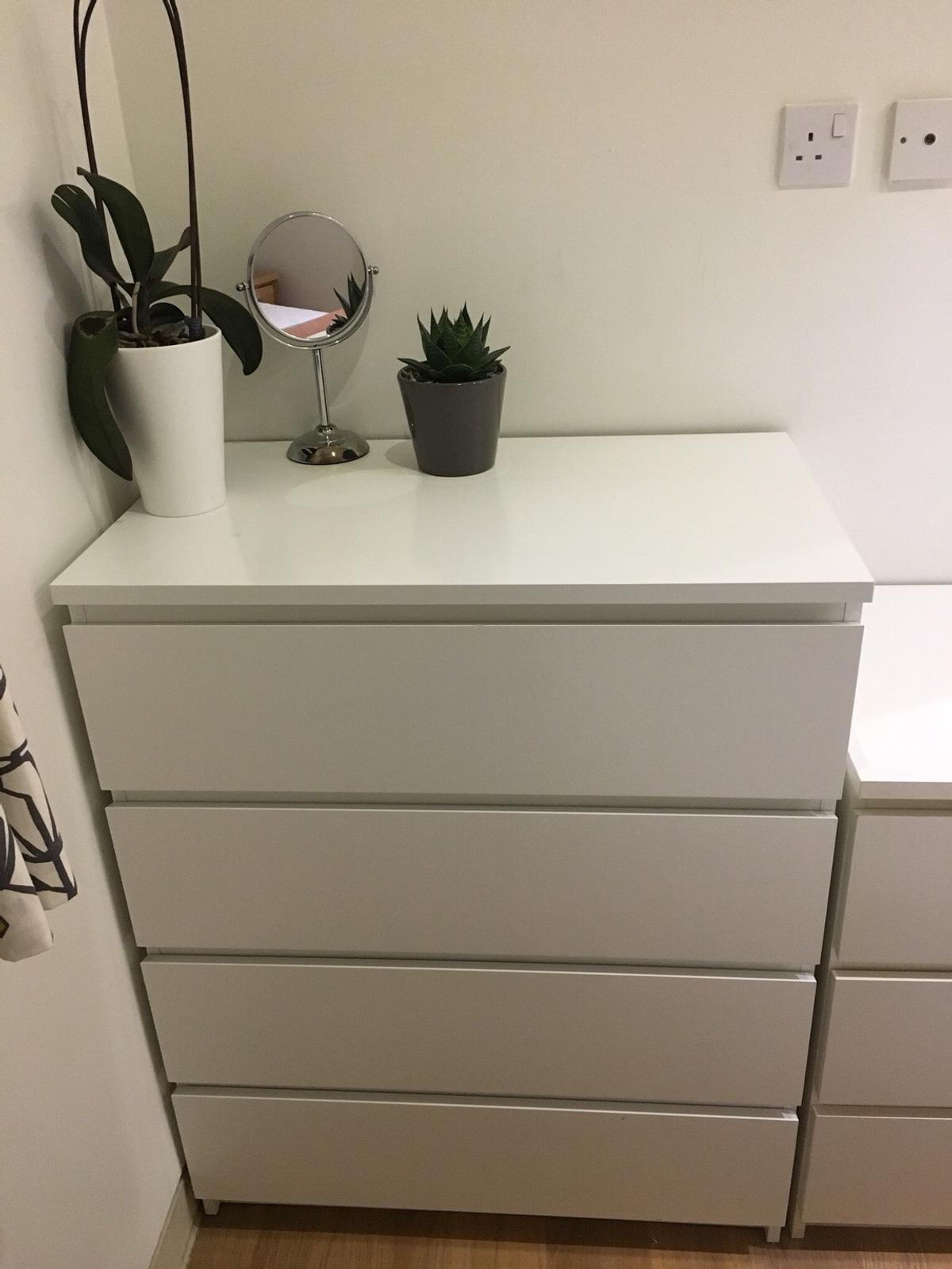 Ikea Malm 4 Drawer White Chest Of