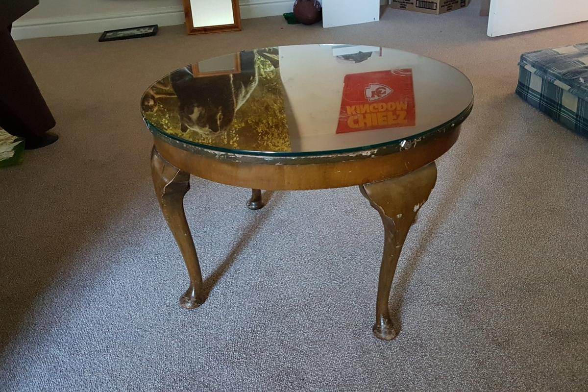 - Coffee Table Glass Topped, Upcycling Project In NG34 CP Für 10,00