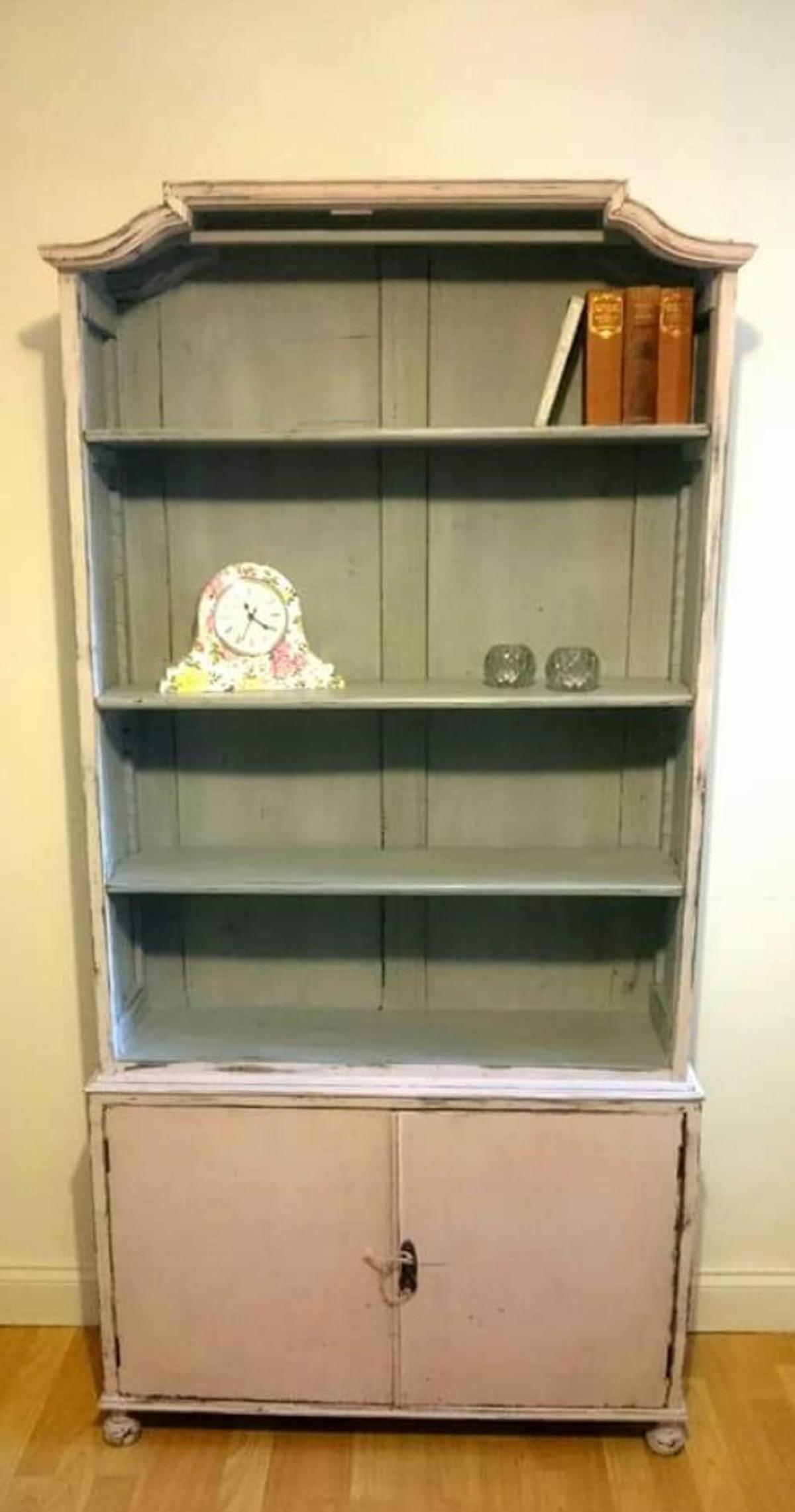 Shabby Chic Pink And Grey Bookcase
