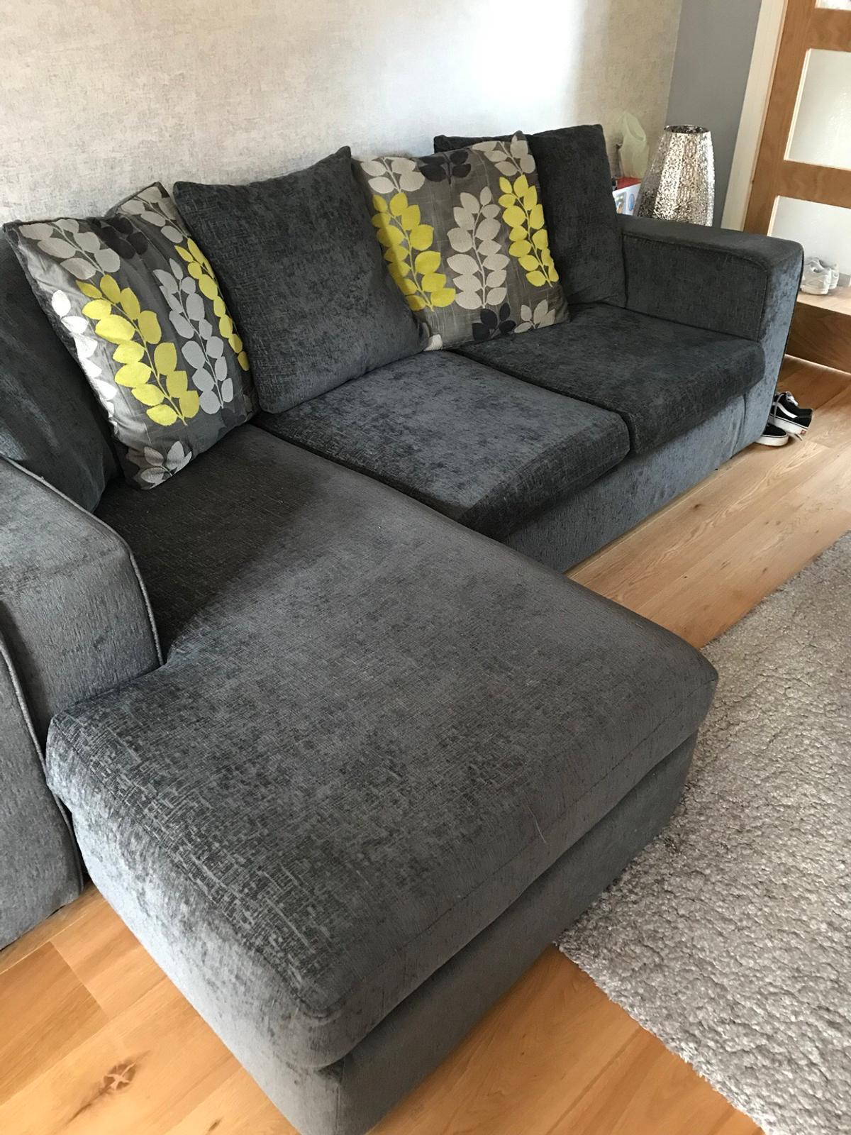 Dfs Grey L Shaped Sofa Arm Chair In