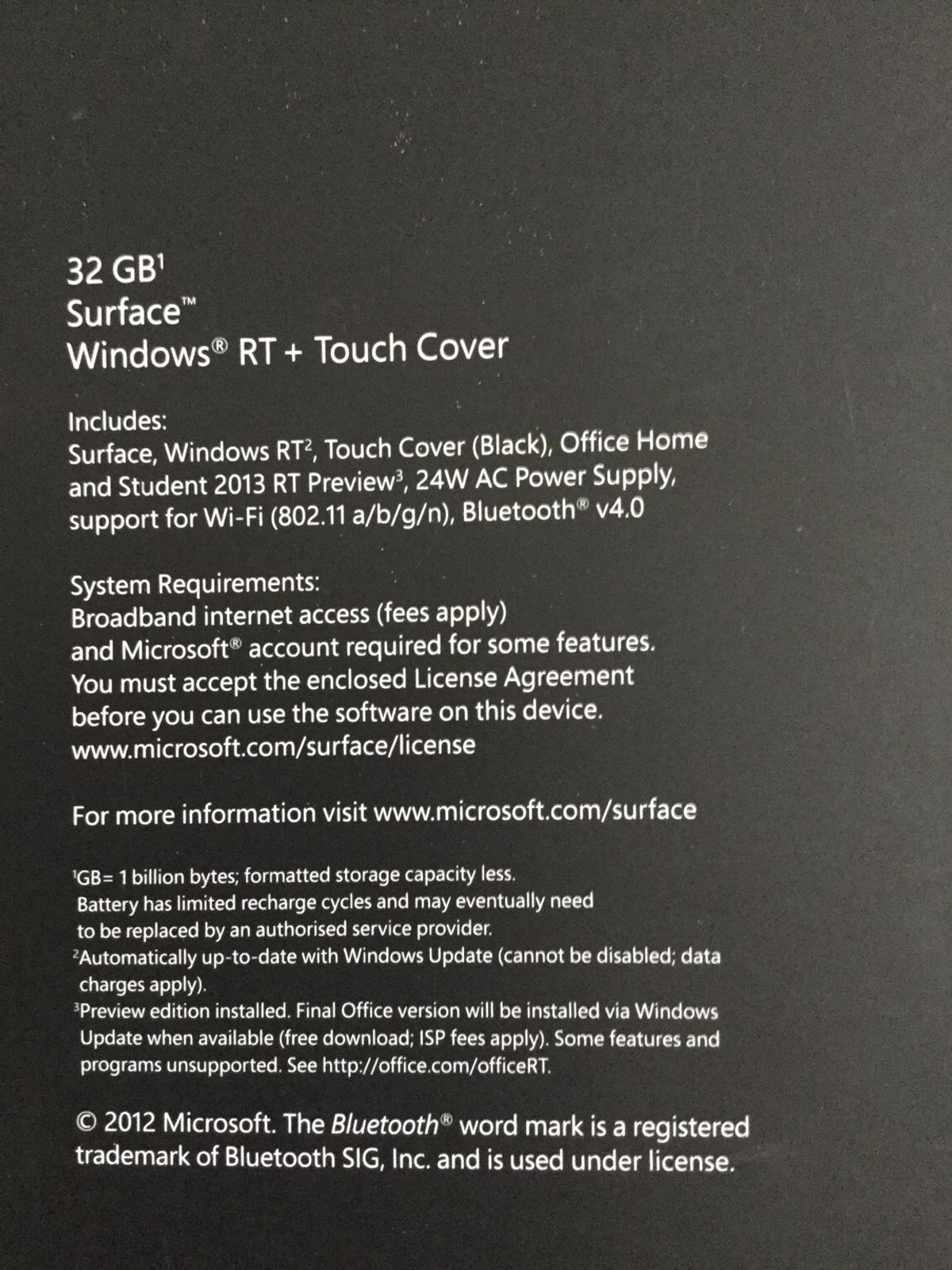 Surface RT tablet 32 gb in TN23 Ashford for £75 00 for sale