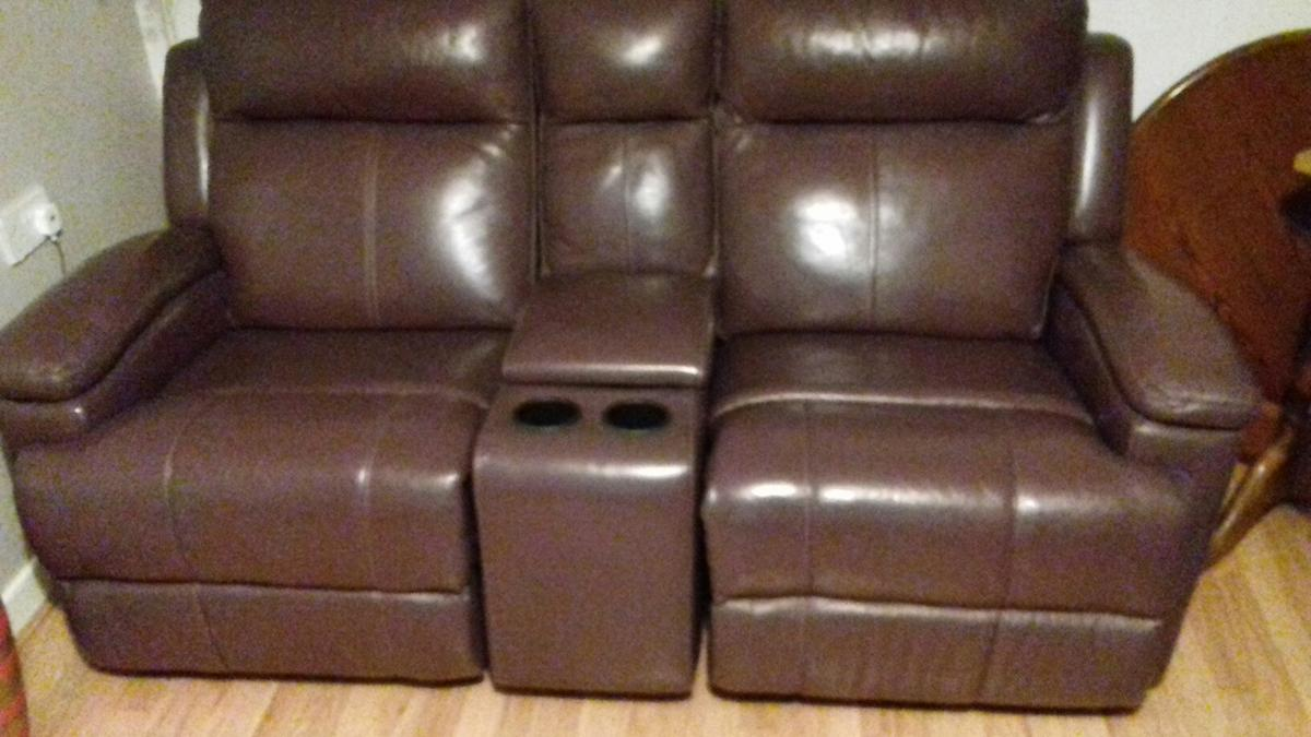 Terrific Leather Two Seater Rock And Recliner Sofa In Fy2 Churchtown Dailytribune Chair Design For Home Dailytribuneorg