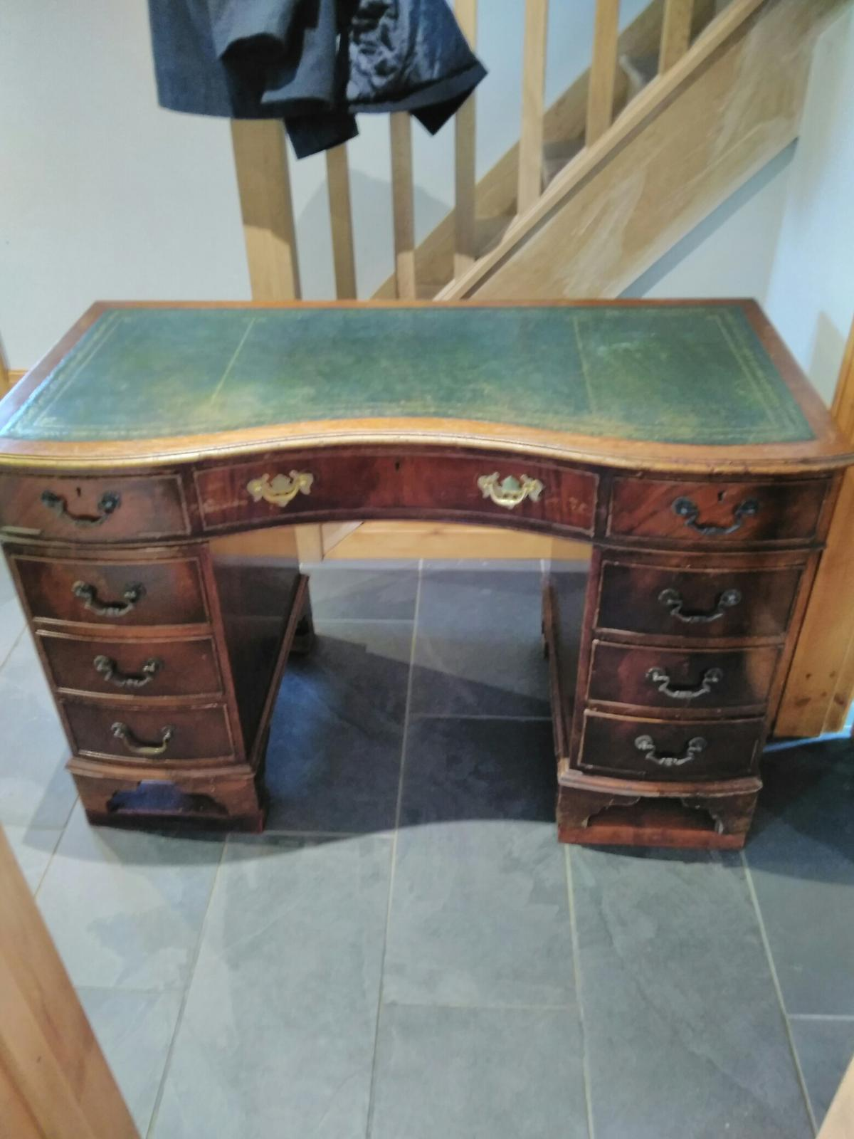 Office Desk Leather Top In Duddon For