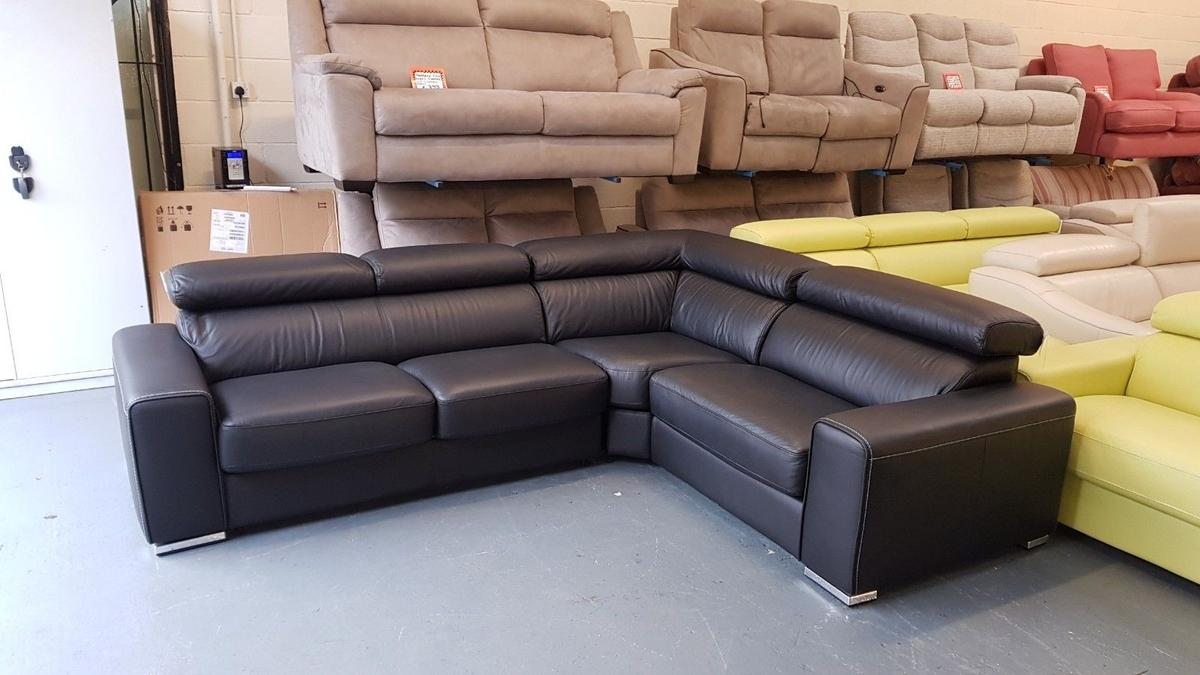 Kalamos black leather corner sofa bed in CH5 Sandycroft for ...
