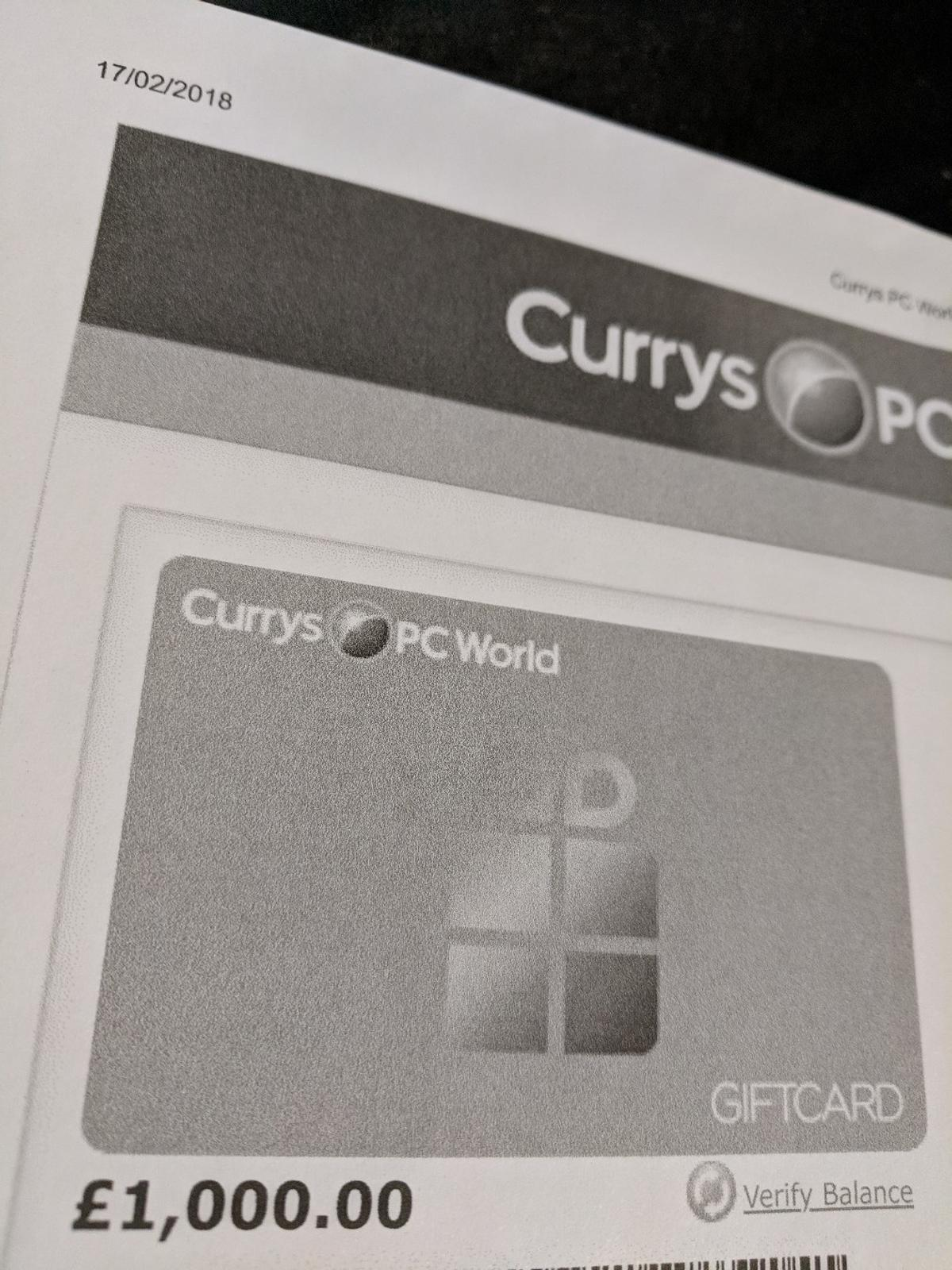 Currys Gift Card Balance >> 1000 Currys Pc World Egift In Sy21 Welshpool For 940 00 For Sale