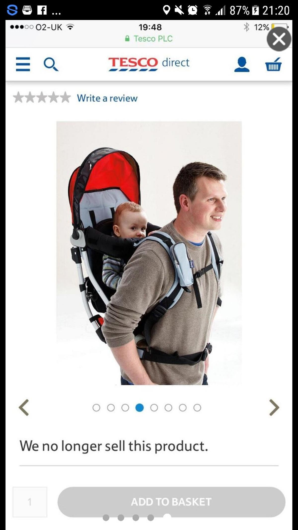 Chicco Caddy Backpack Baby Carrier In Da11 Northfleet For 20 00 For