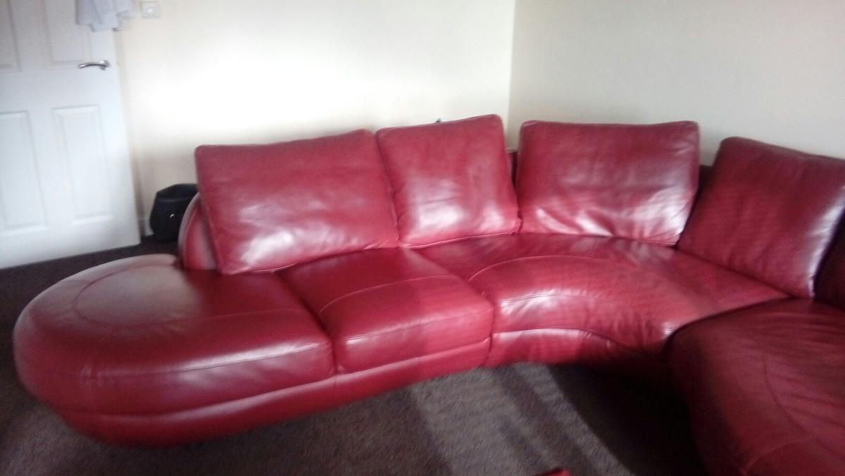 Red leather corner sofa in S60 Rotherham for £300.00 for ...