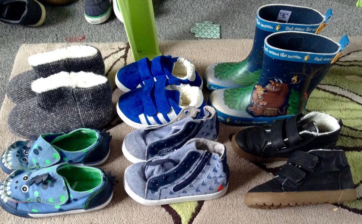 b4180cc0 Description. Black slippers size 9 but more like 8 £1. Blue slipper  trainers, dino, boat shoes ...