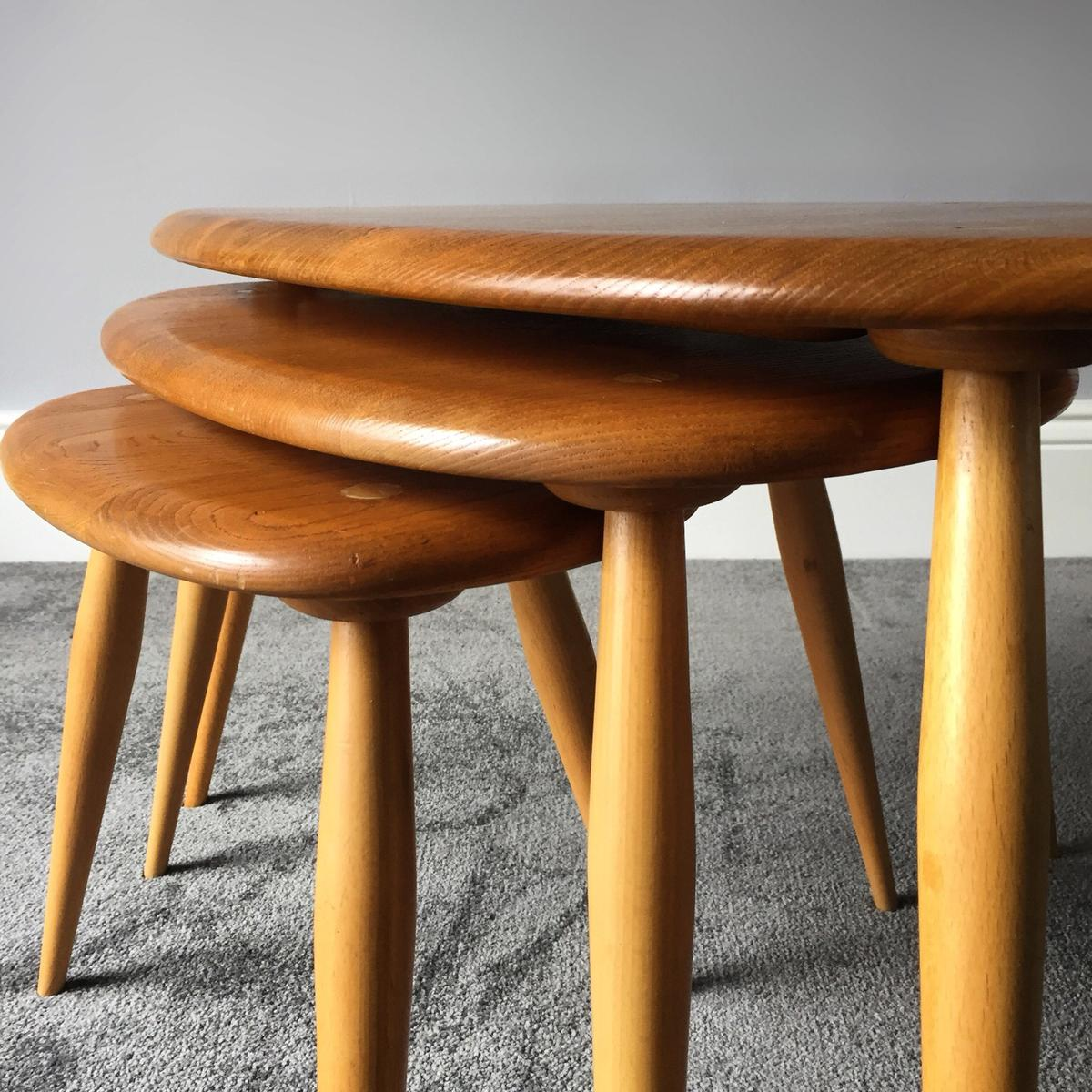 Ercol Pebble Nest Of Tables Retro Mid Century In Ig6