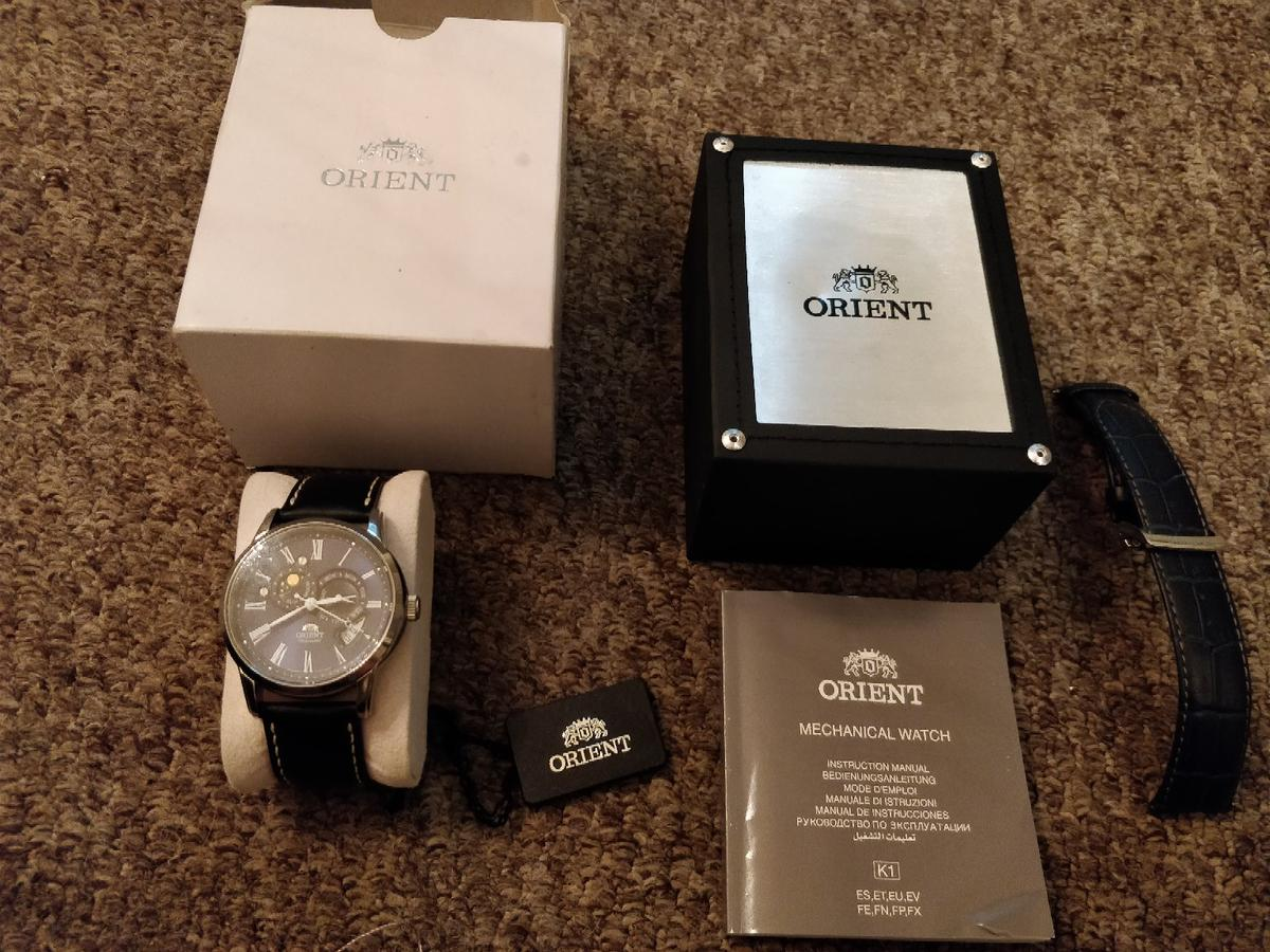 Orient Sun Moon Automatic Watch rare Blue in M46 Wigan for