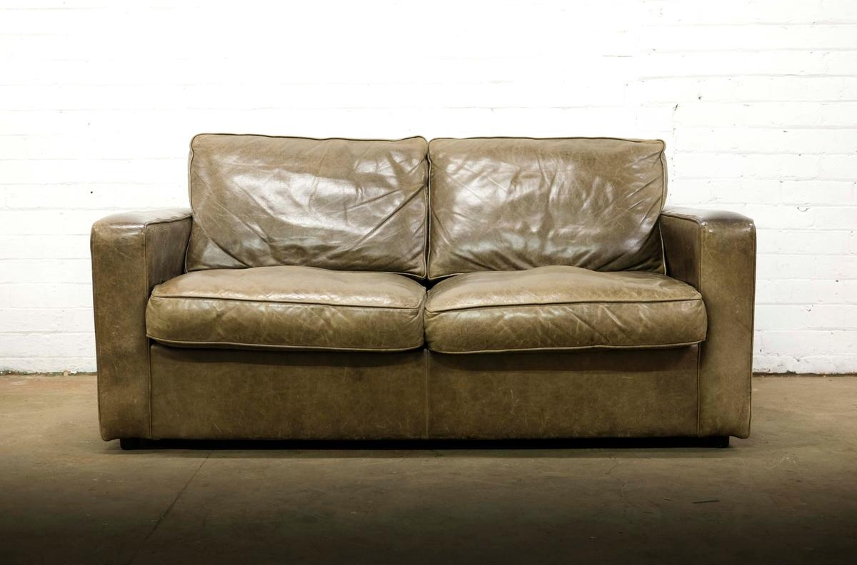 Laura Ashley 2 Seat Leather Sofa Bed In