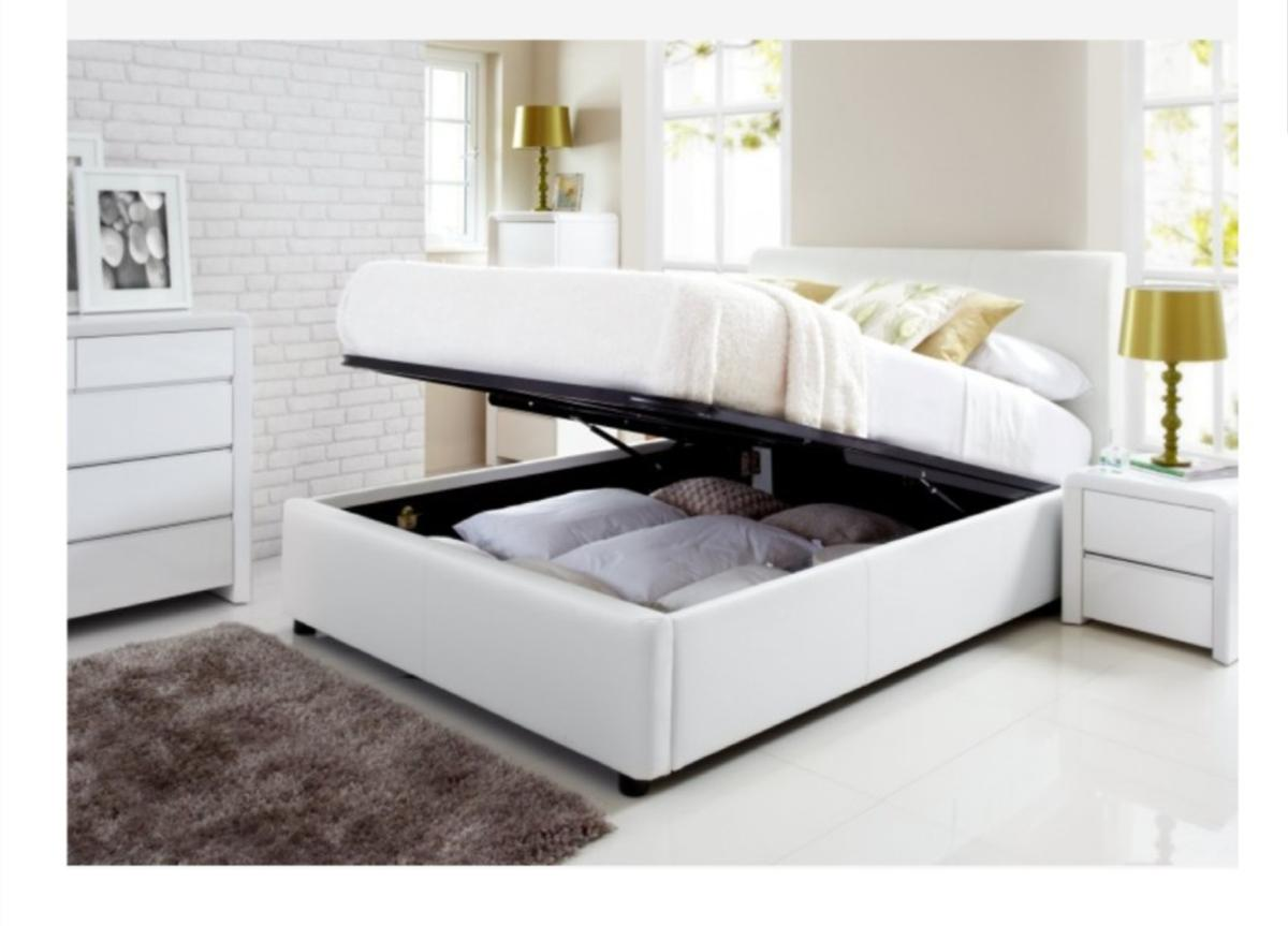 Cool Kingsize White Faux Leather Ottoman Bed Bralicious Painted Fabric Chair Ideas Braliciousco