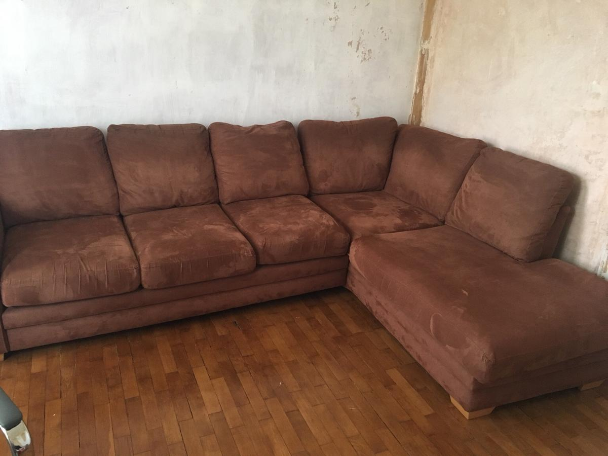 DFS Large Brown Suede Effect Corner Sofa