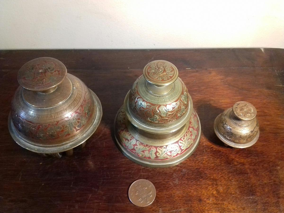 Three Indian Brass Bells One Has Holder In Tq9 Hams For 20 00 For Sale Shpock