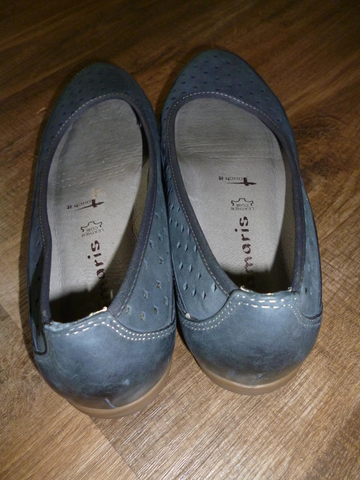 Tamaris Leder Slipper Ballerina Touch it blau in 47877