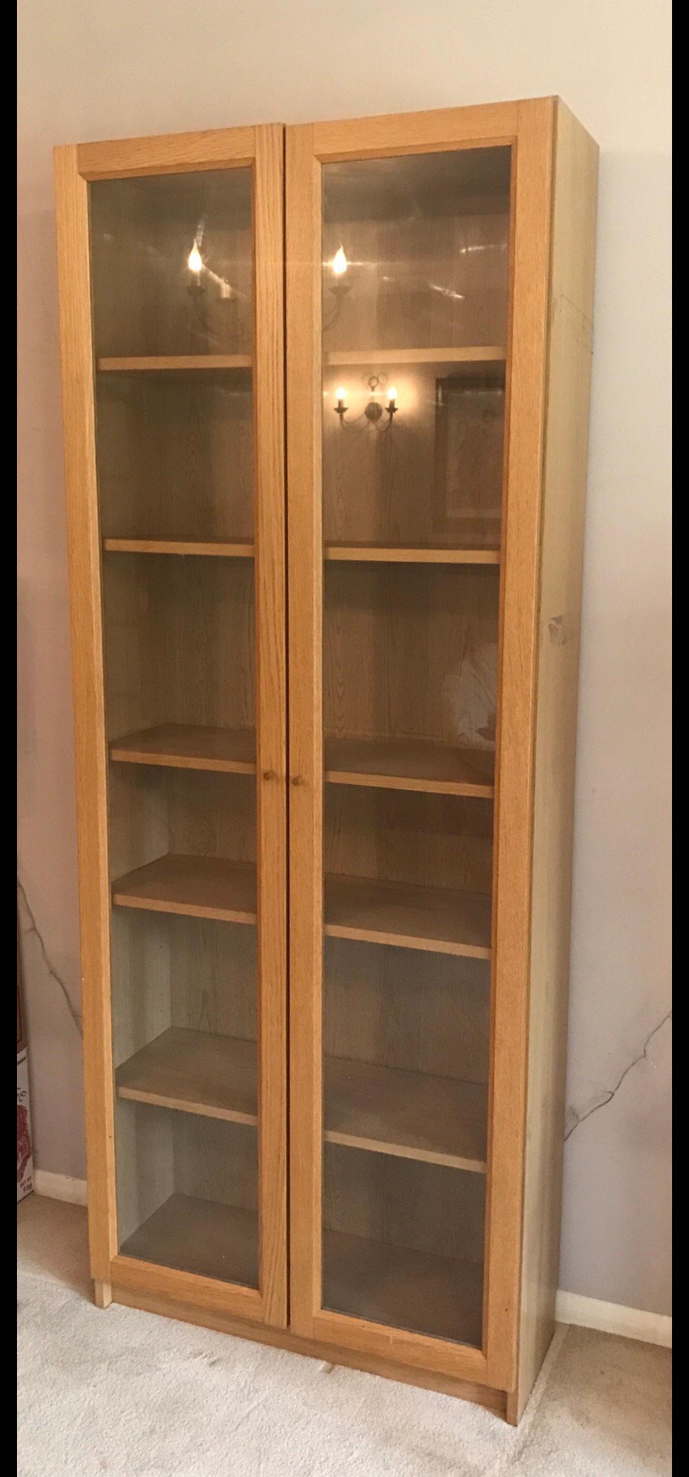 Ikea Billy Bookcase Oak Veneer W Glass Doors