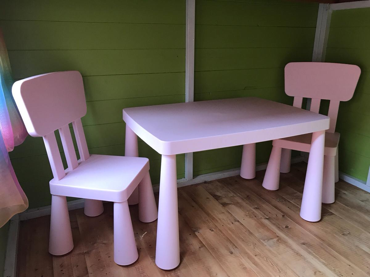 Ikea Mammut Table And Chair Set Pale Pink In Mk45 Ampthill