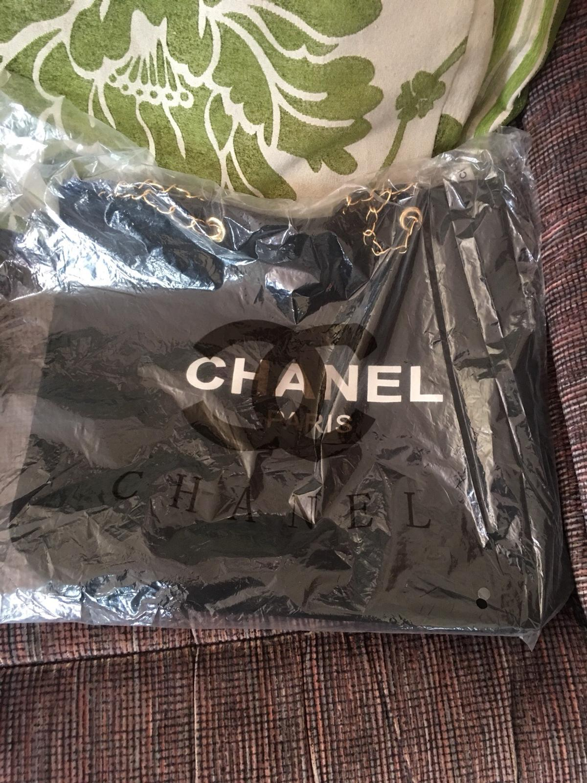 afcdd639e5b9 Description. NEW Chanel Black Canvas Shopper Tote Bag with Gold Chain This  is. Authentic VIP Gift given to ...