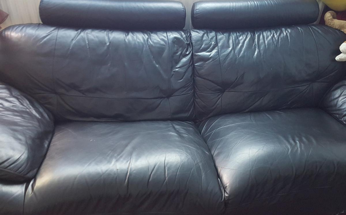 BLACK LEATHER 3 SEATER SOFA FOR FREE in SW18 Wandsworth for free for ...
