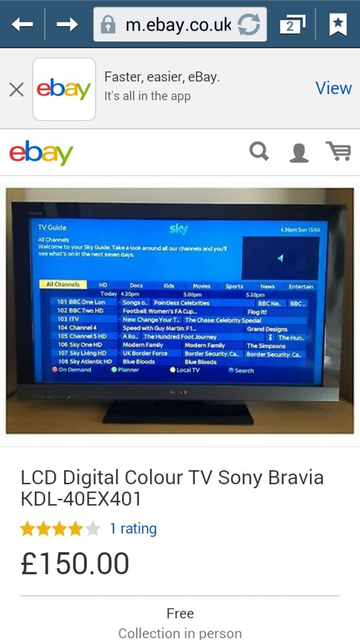 LCD Digital Colour TV Sony Bravia KDL-40EX40