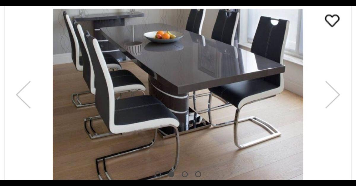 Grey Gloss 6 8 Seat Dining Table Chairs