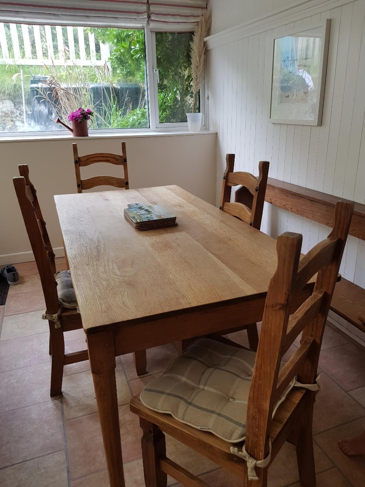 Dining Table Chairs And Church Pew Or Bench