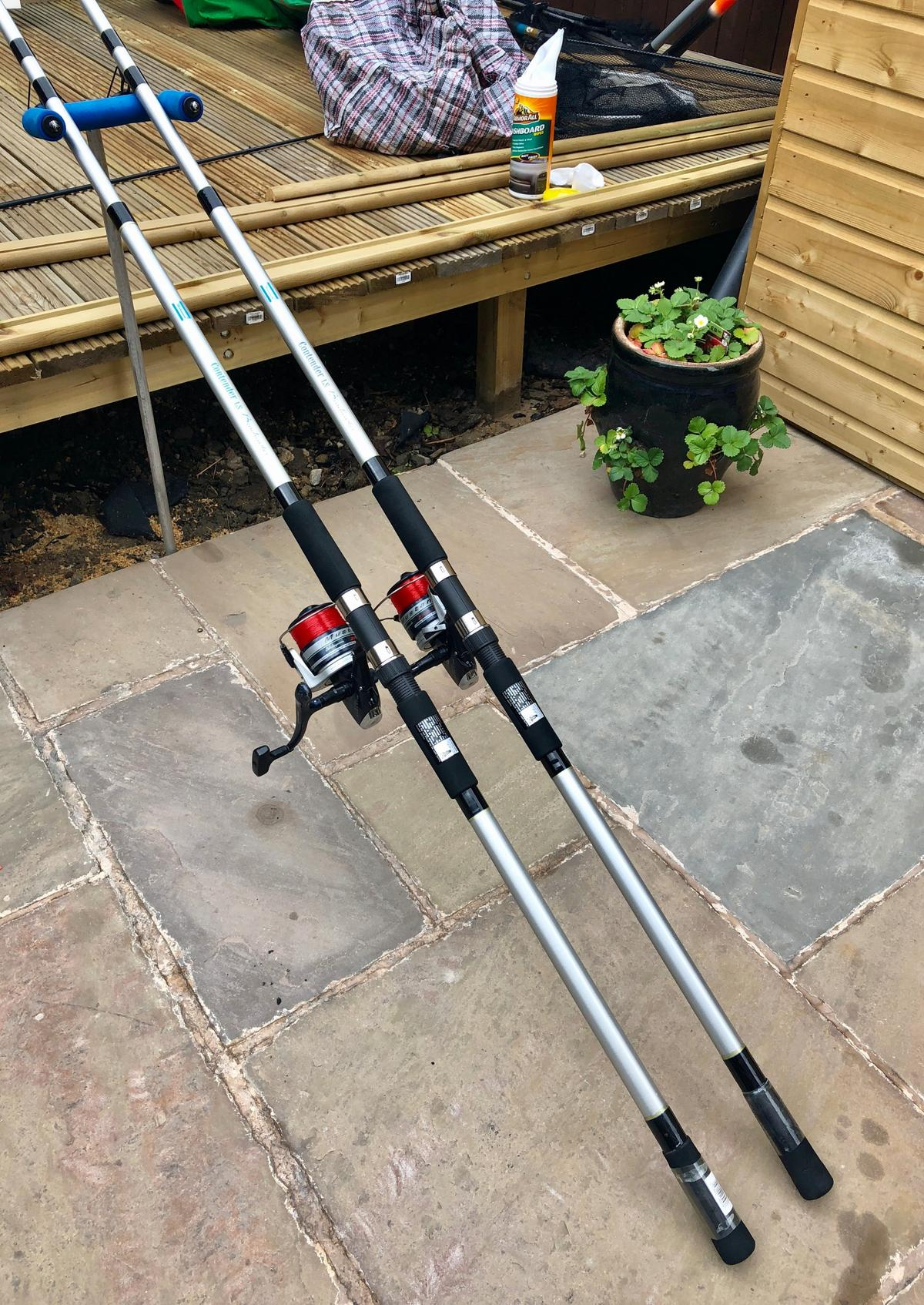 2 X SHAKESPEARE CONTENDER BEACHCASTER RODS + in WF1
