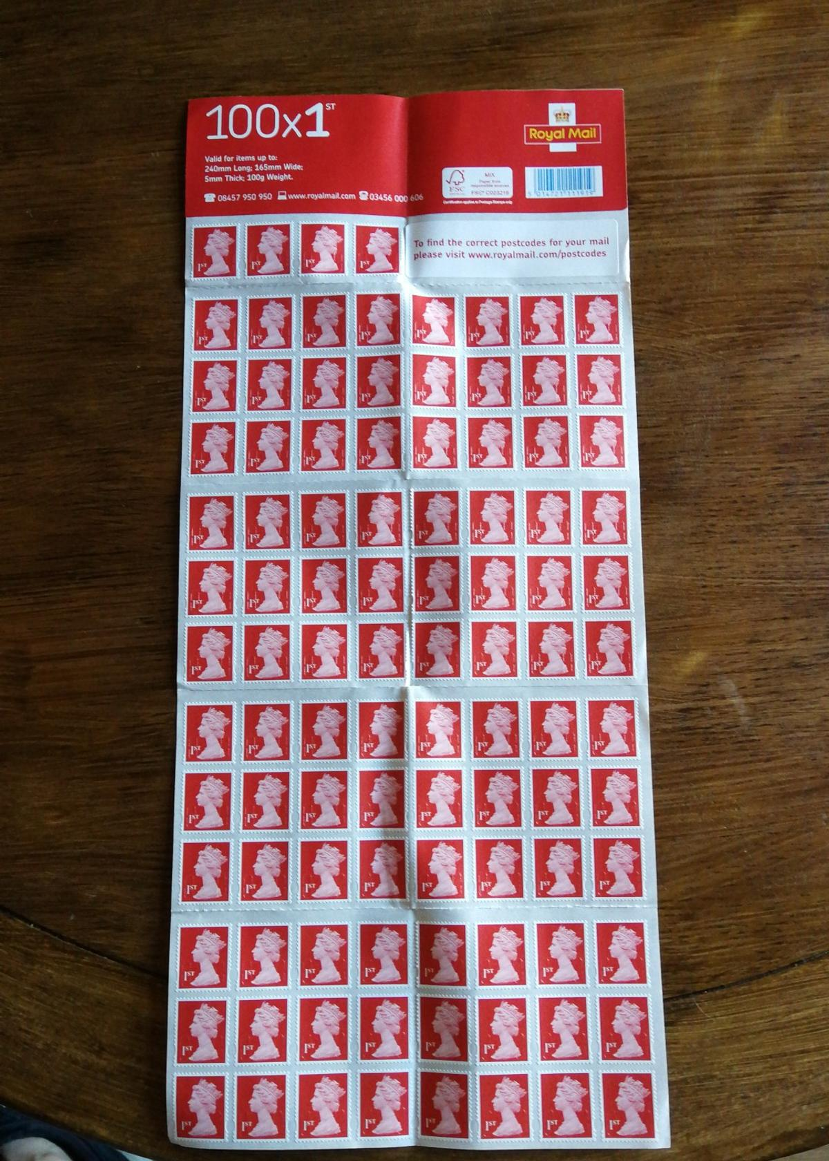 1st Class Stamps x 100 (Self Adhesive Stamp