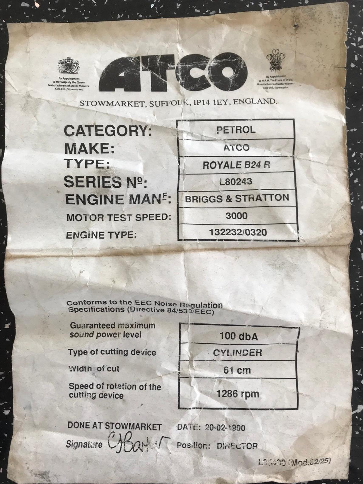 Atco Royale B20 Ride on Lawnmower in ME12 Swale for £280 00 for sale
