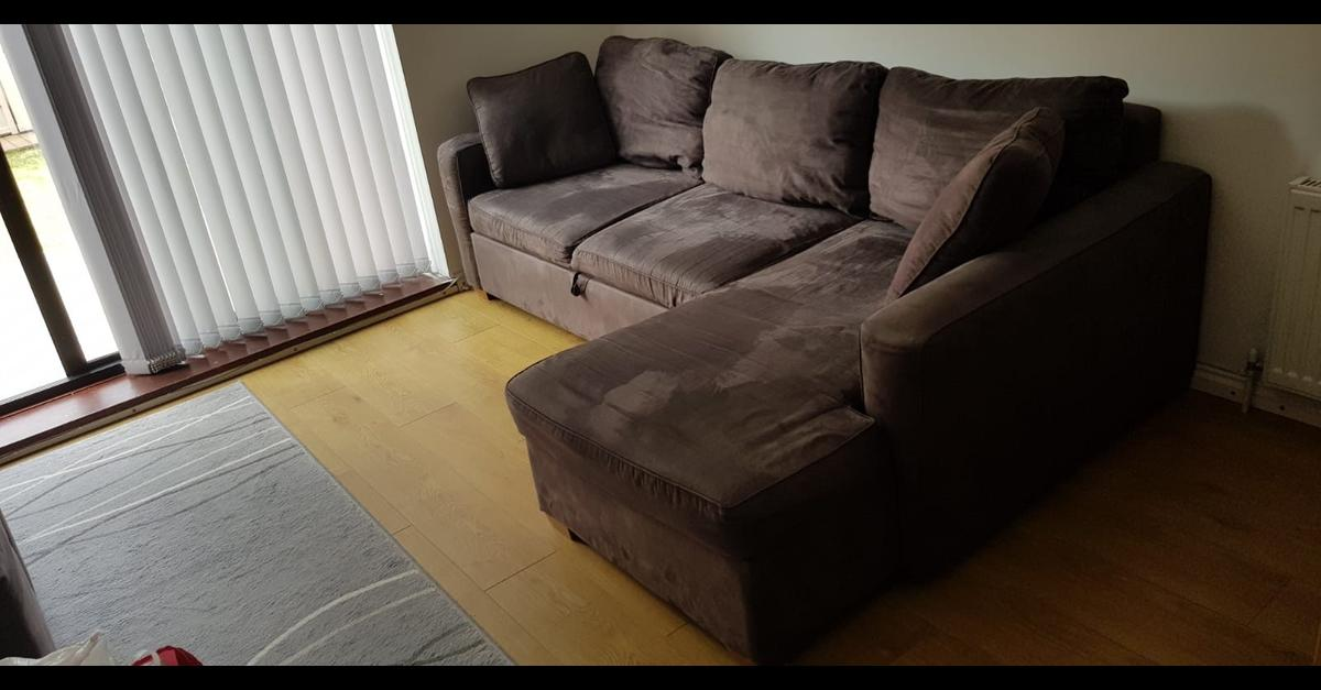 Brown L-shaped Sofa bed with storage in KT22 Valley for ...