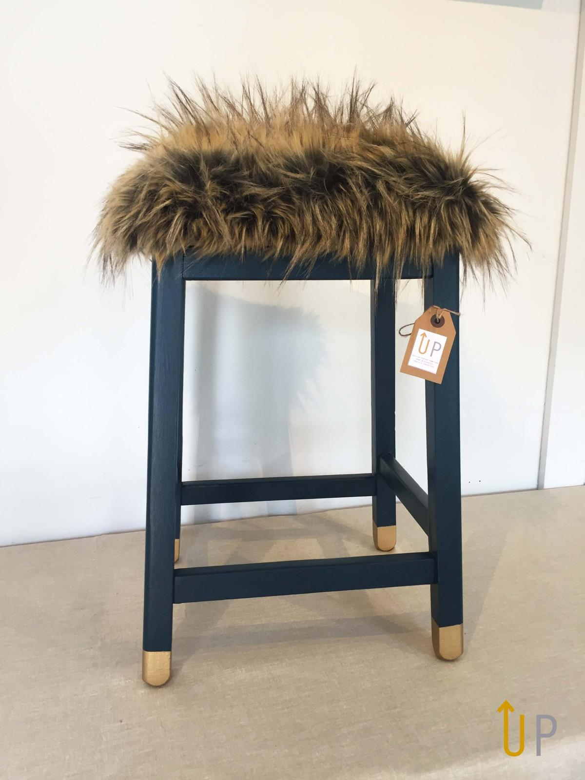 Enjoyable Blue And Gold Upcycled Fur Stool In Le12 Charnwood For Beatyapartments Chair Design Images Beatyapartmentscom